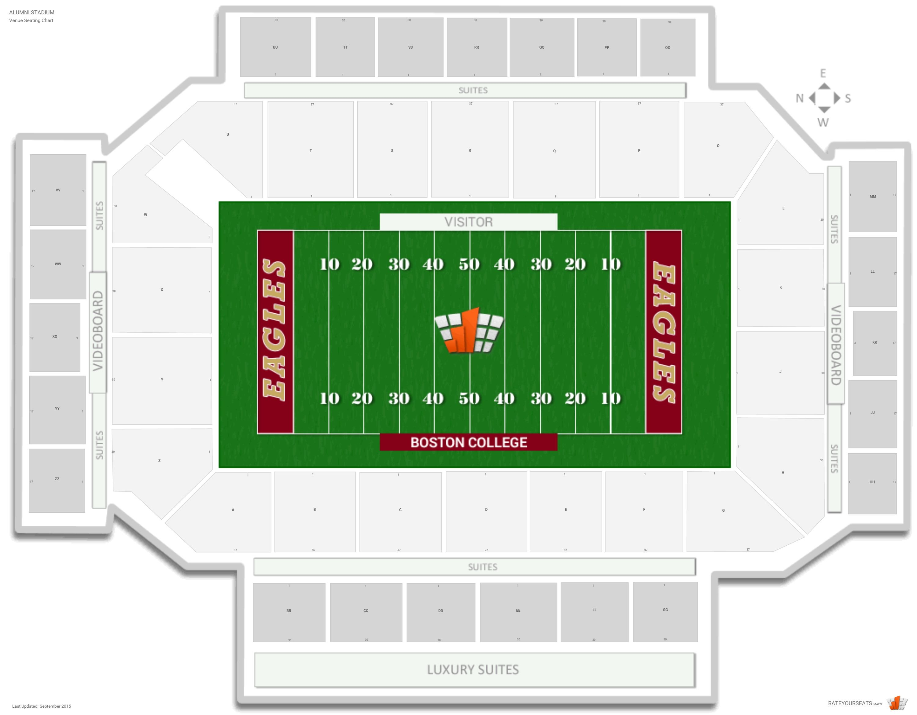 Alumni stadium boston college seating guide rateyourseats com