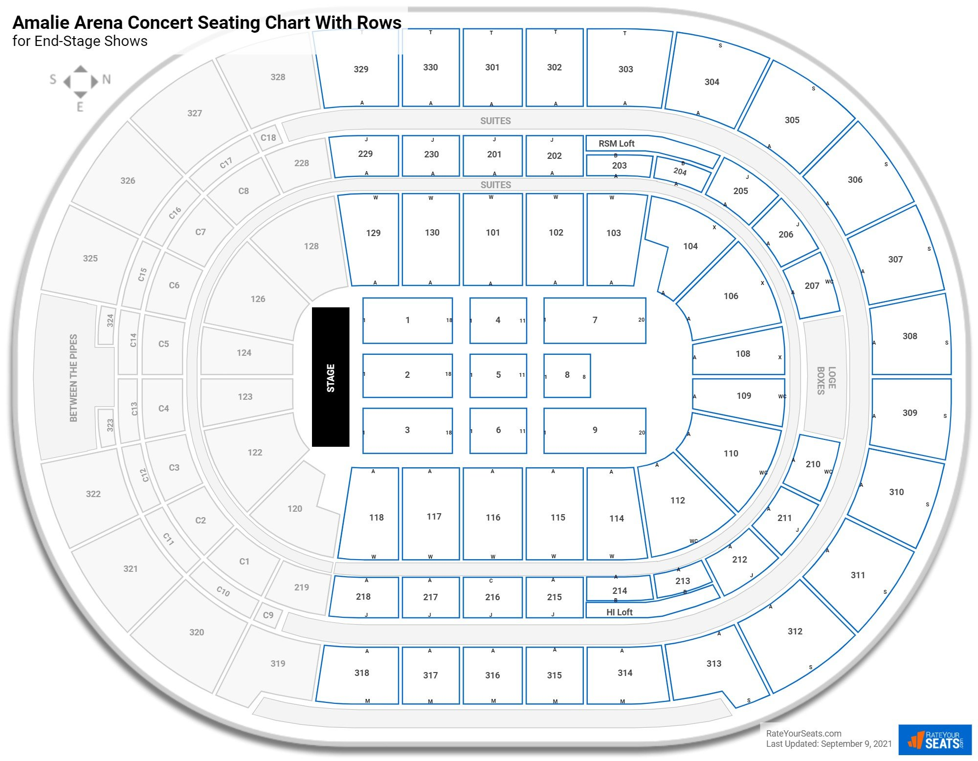 Amalie Arena seating chart with rows concert