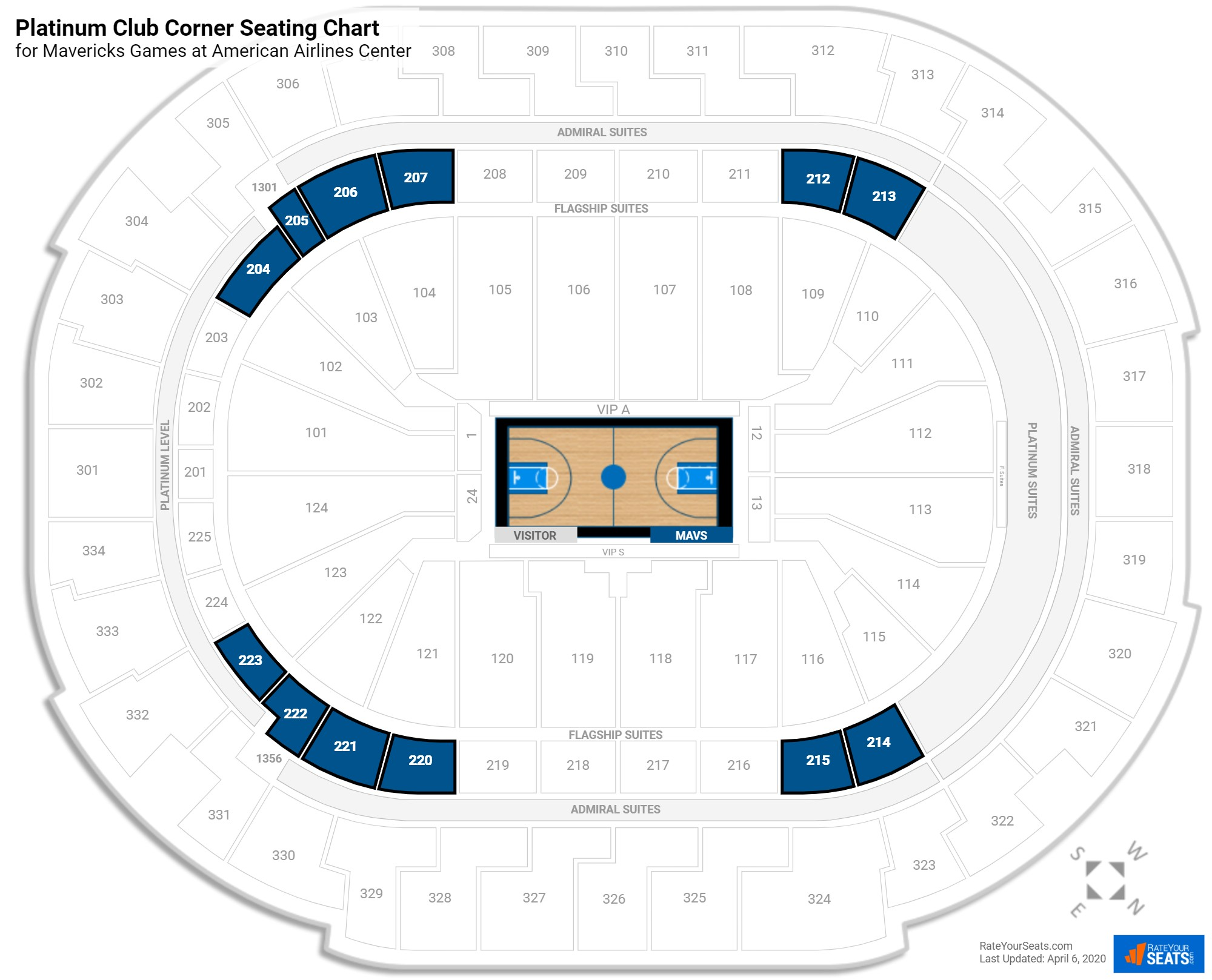 American Airlines Center Platinum Club Corner seating chart