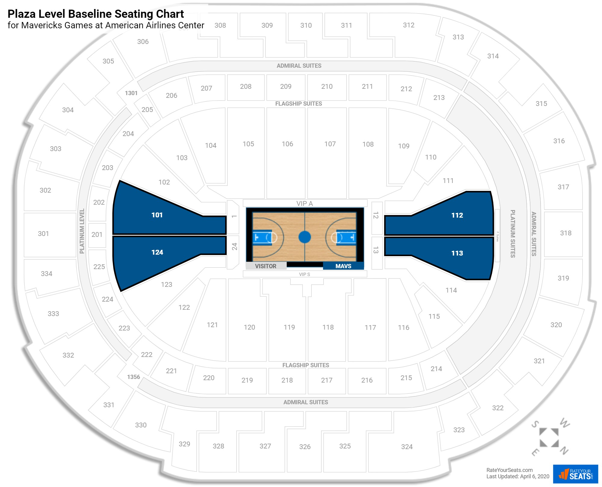 American Airlines Center Plaza Level Baseline seating chart