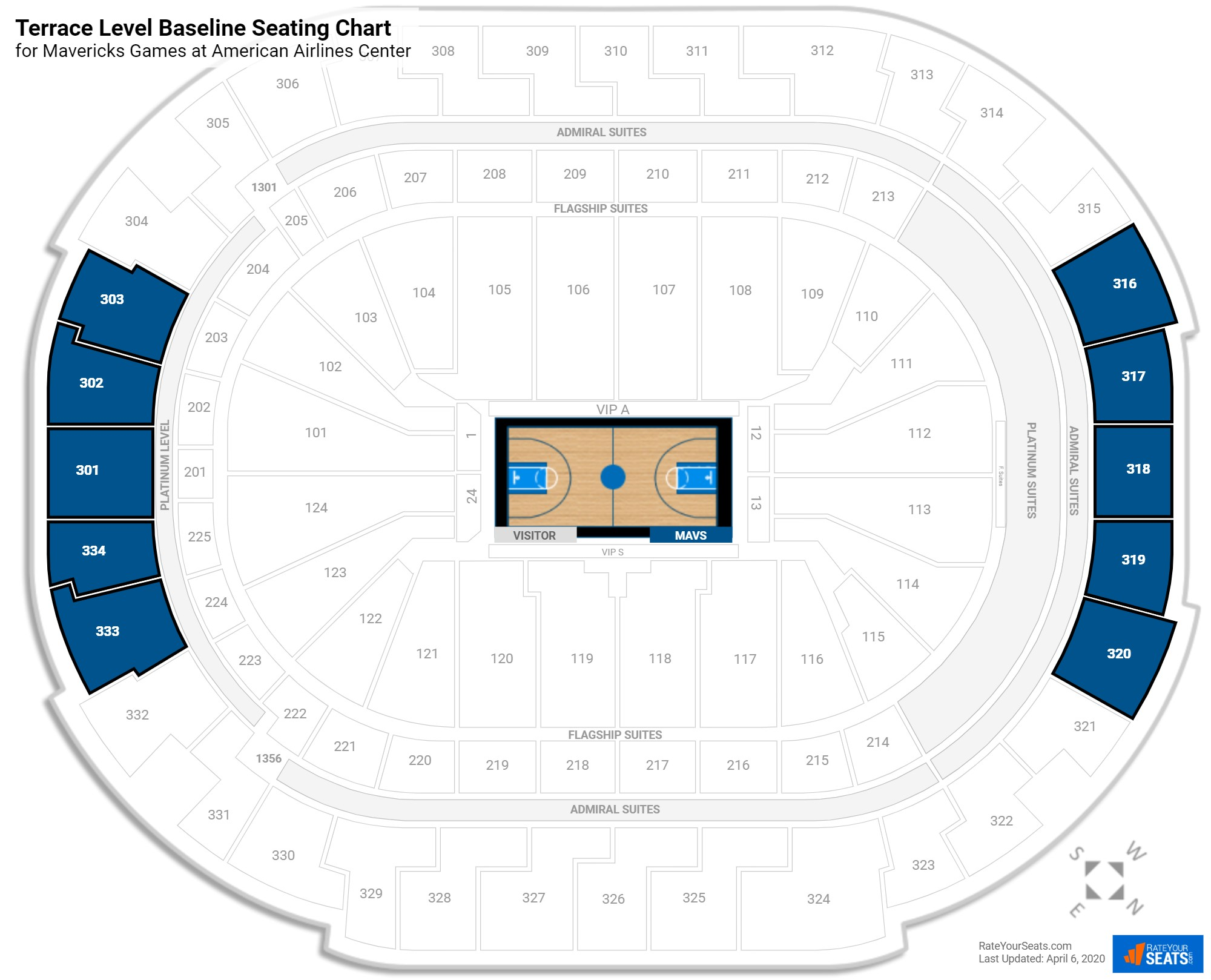 American Airlines Center Terrace Level Baseline seating chart