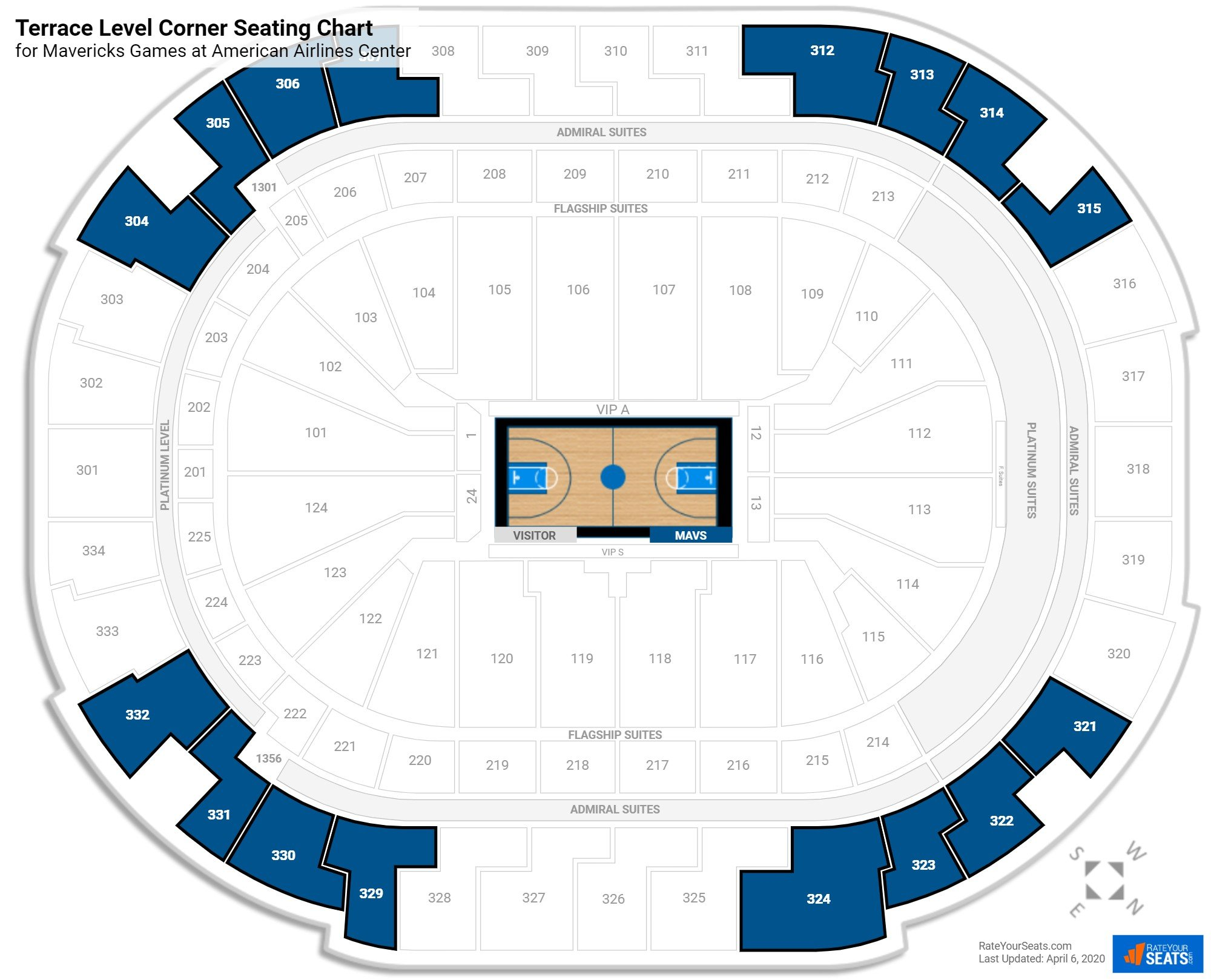 American Airlines Center Terrace Level Corner seating chart