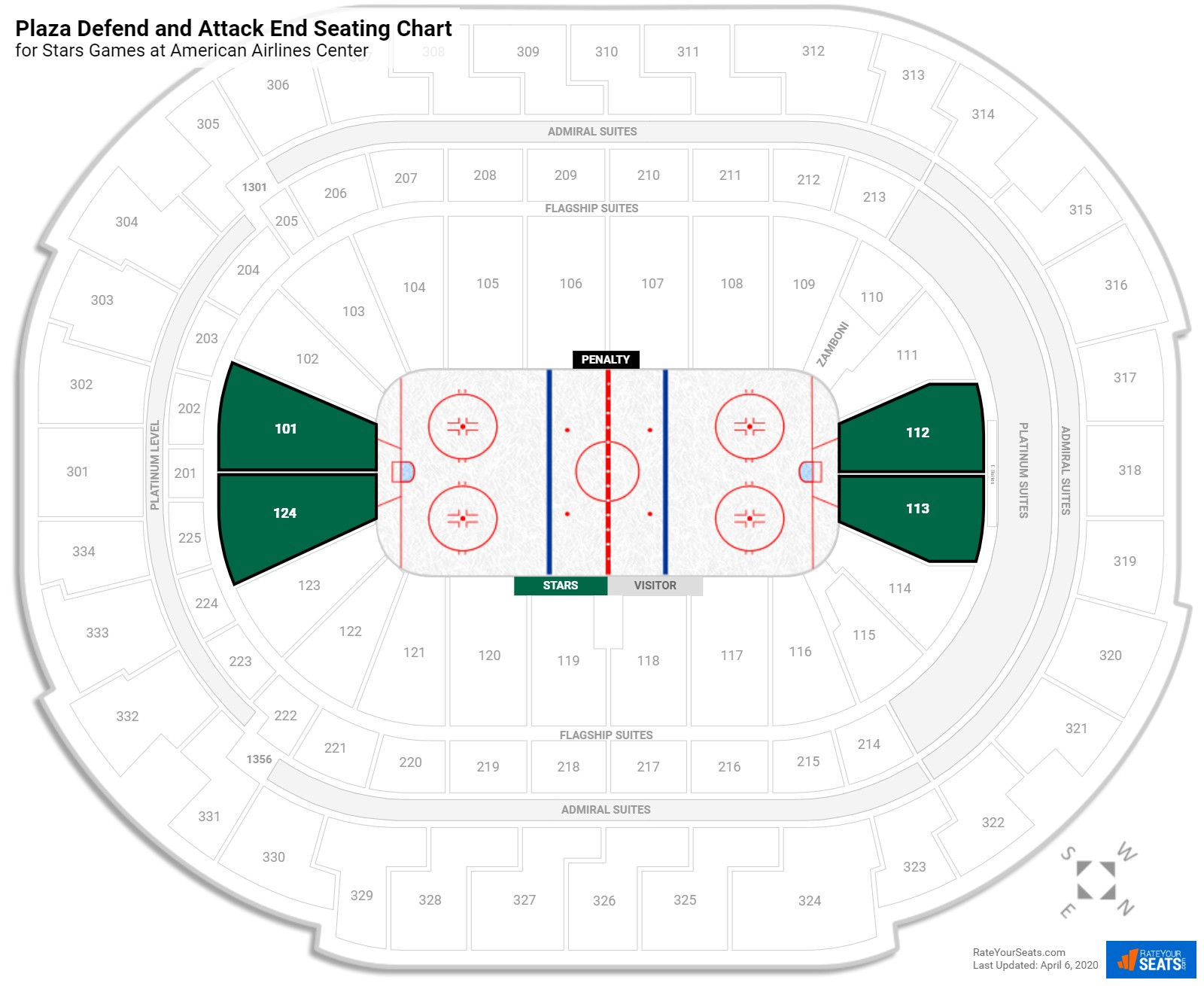 American Airlines Center Plaza Level Behind the Net seating chart