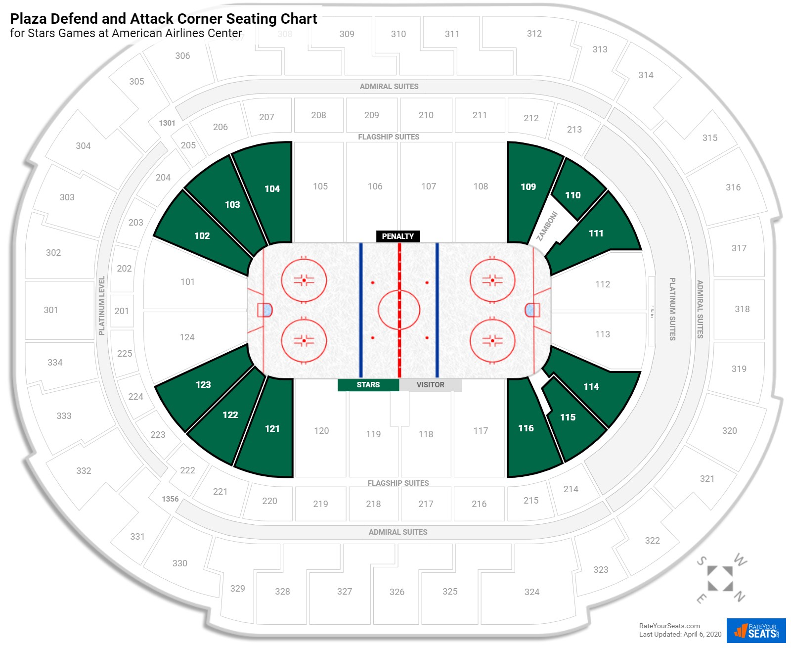 American Airlines Center Plaza Level Corner seating chart