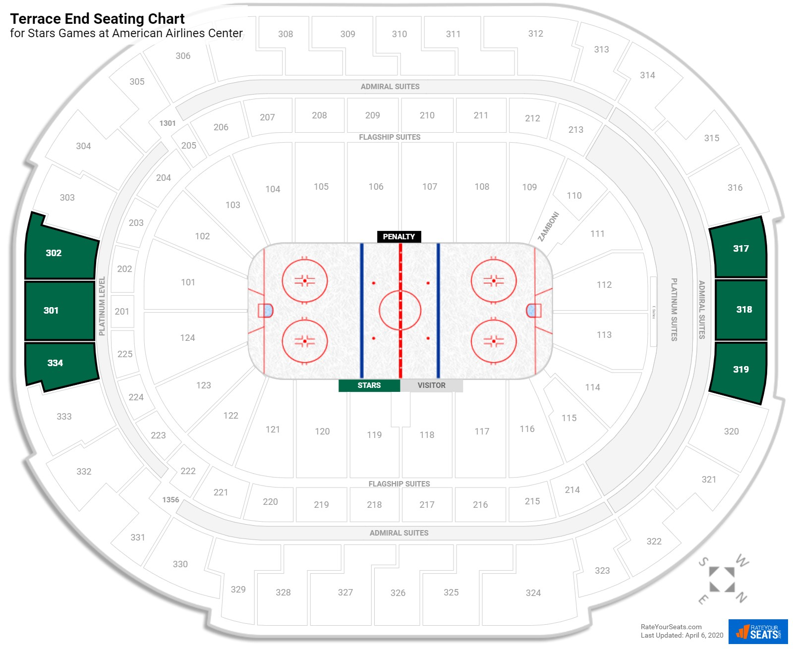 American Airlines Center Terrace Level Behind the Net seating chart