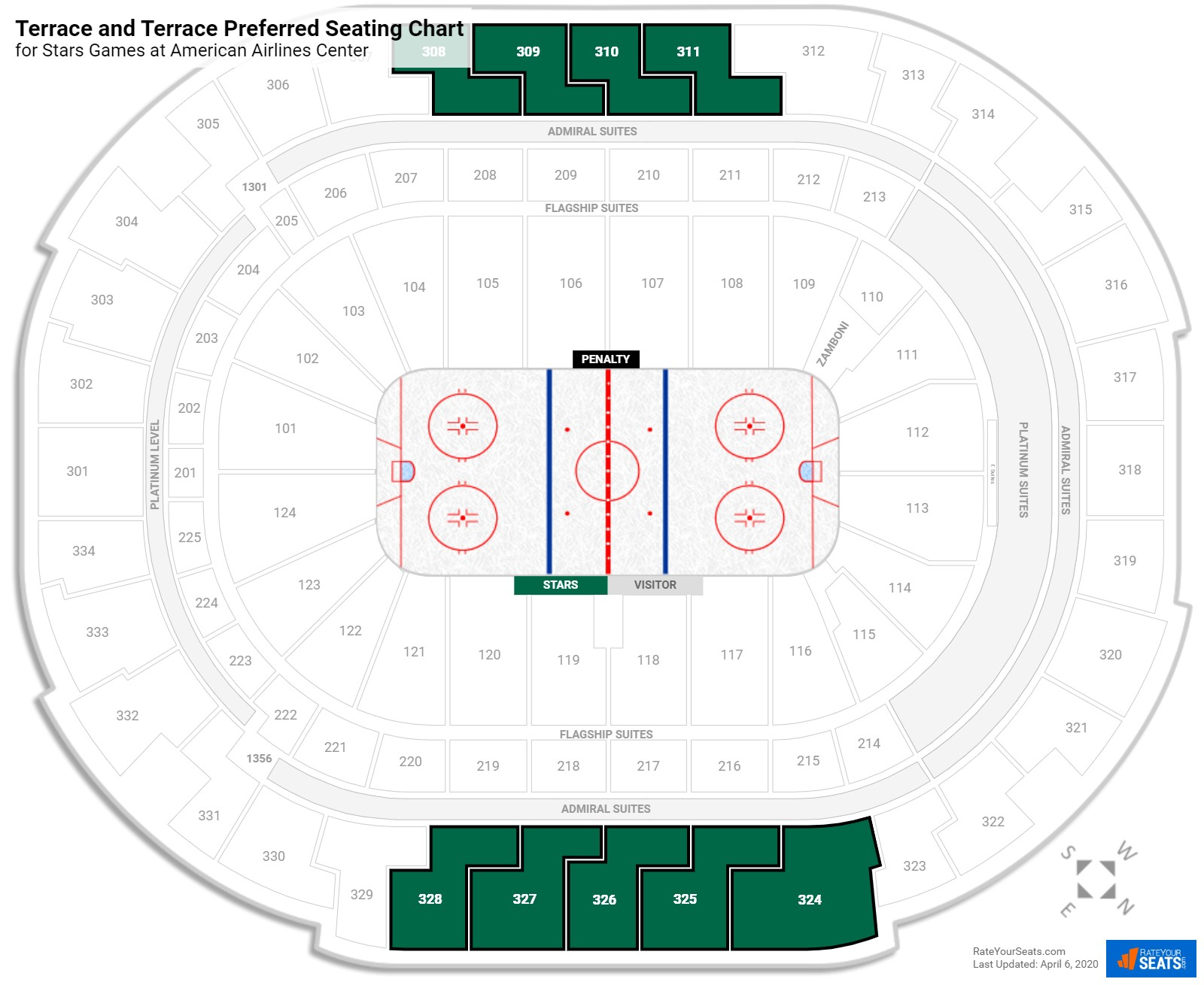 American Airlines Center Terrace Level Side seating chart