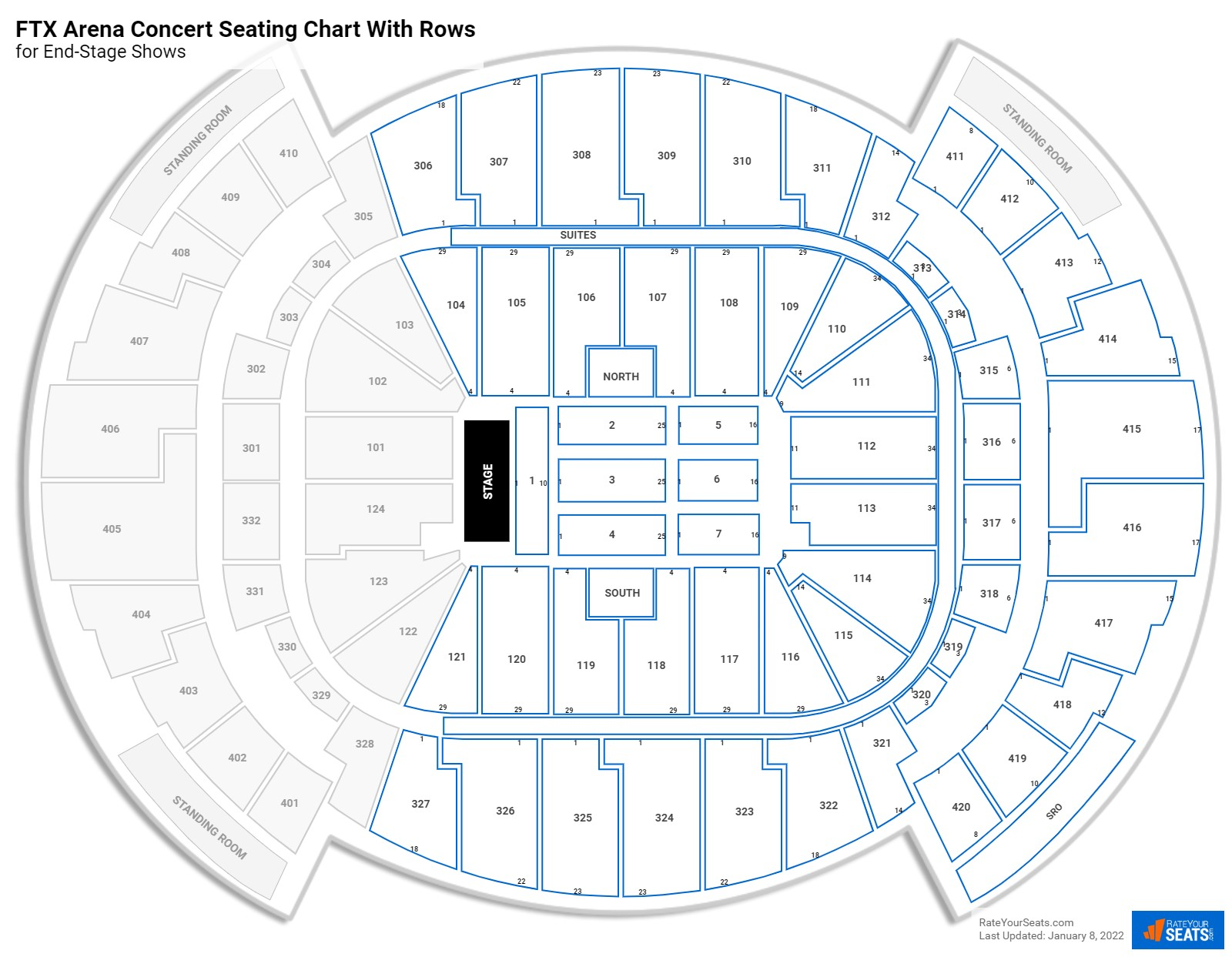 AmericanAirlines Arena seating chart with rows concert