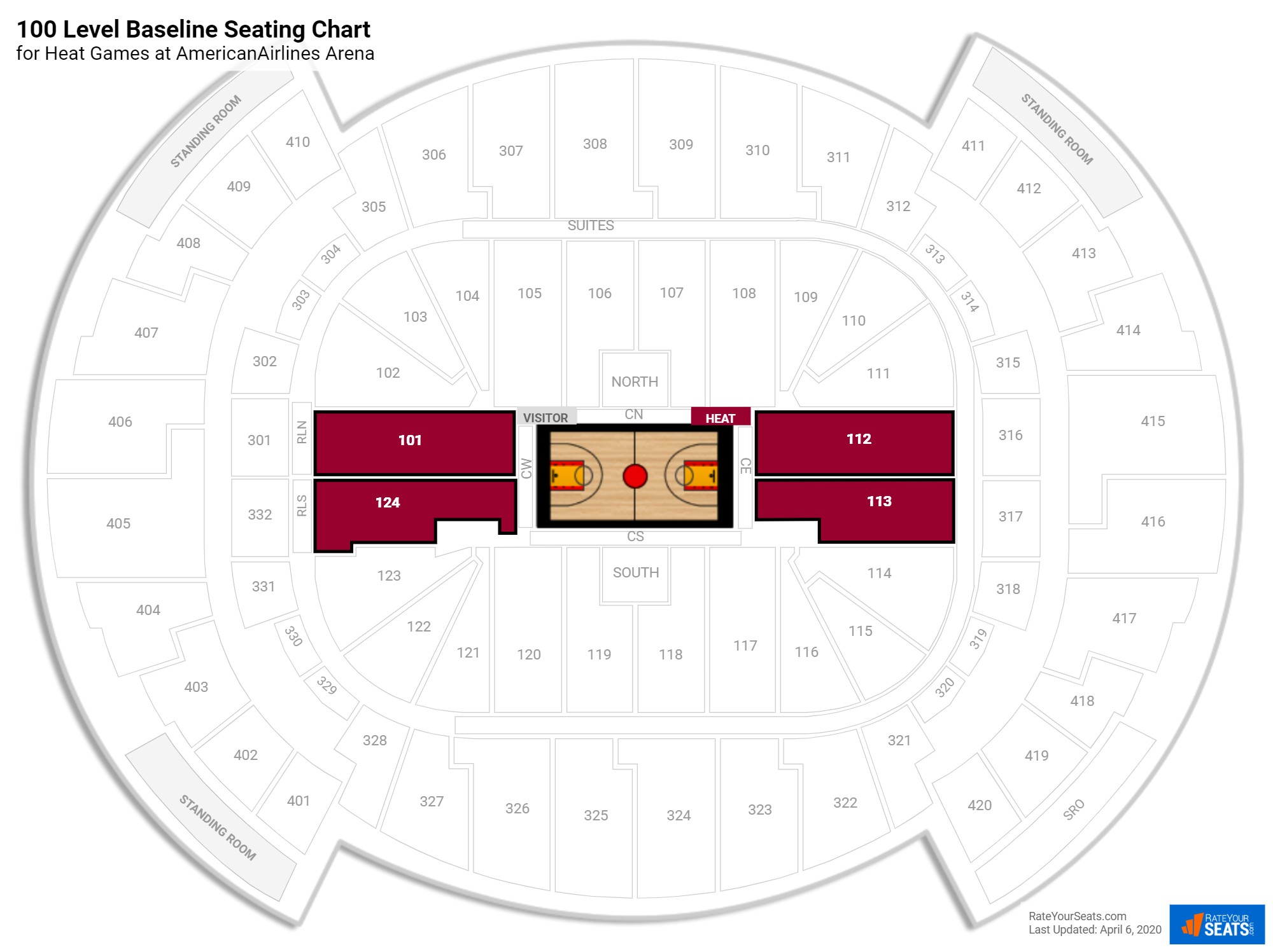 AmericanAirlines Arena 100 Level Baseline seating chart