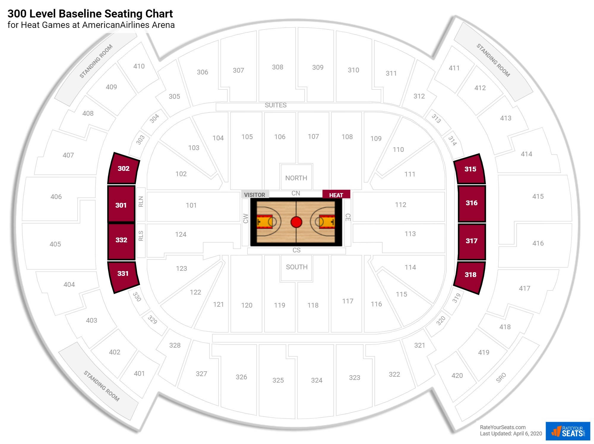 AmericanAirlines Arena 300 Level Baseline seating chart