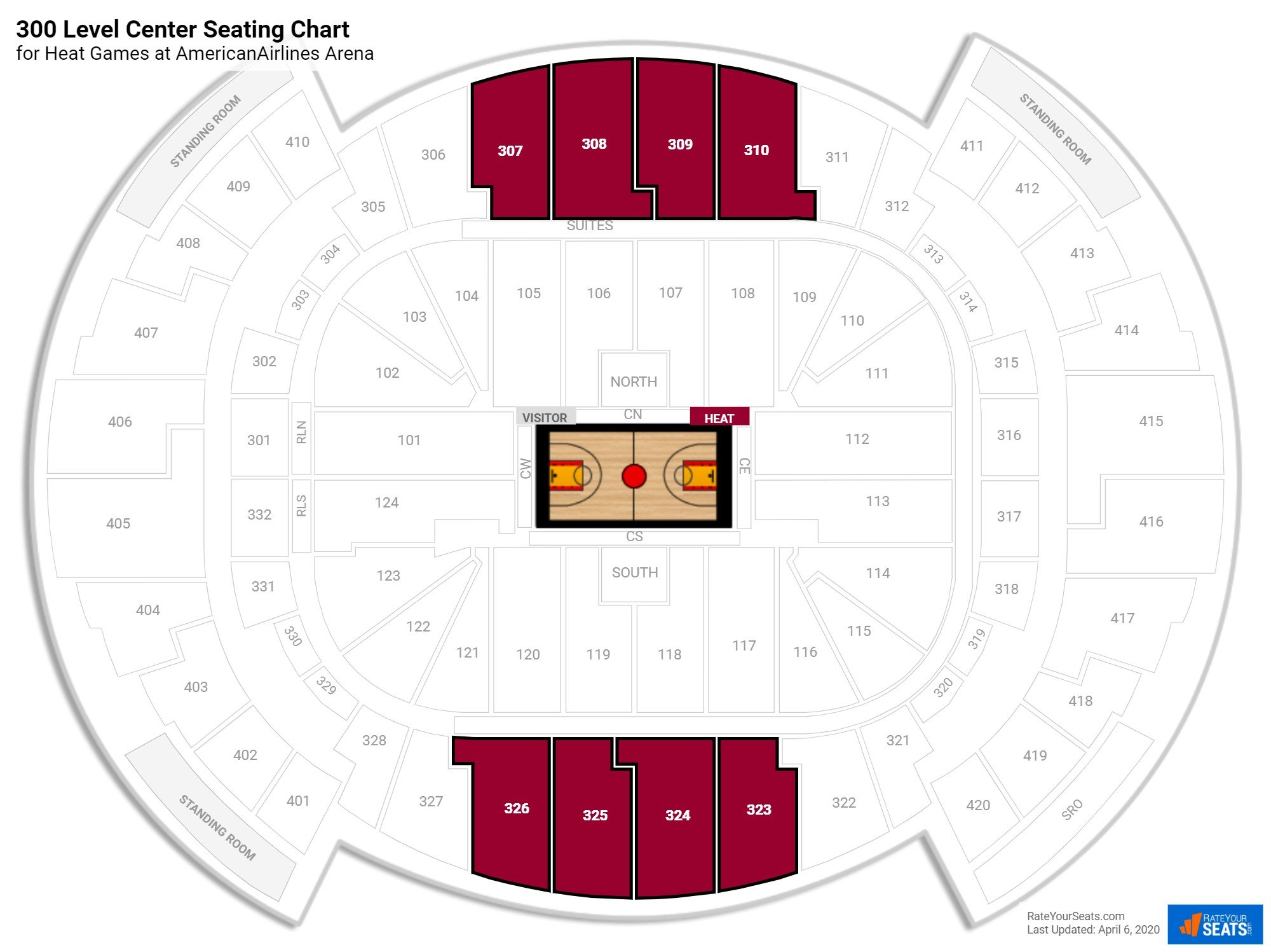 AmericanAirlines Arena 300 Level Center seating chart