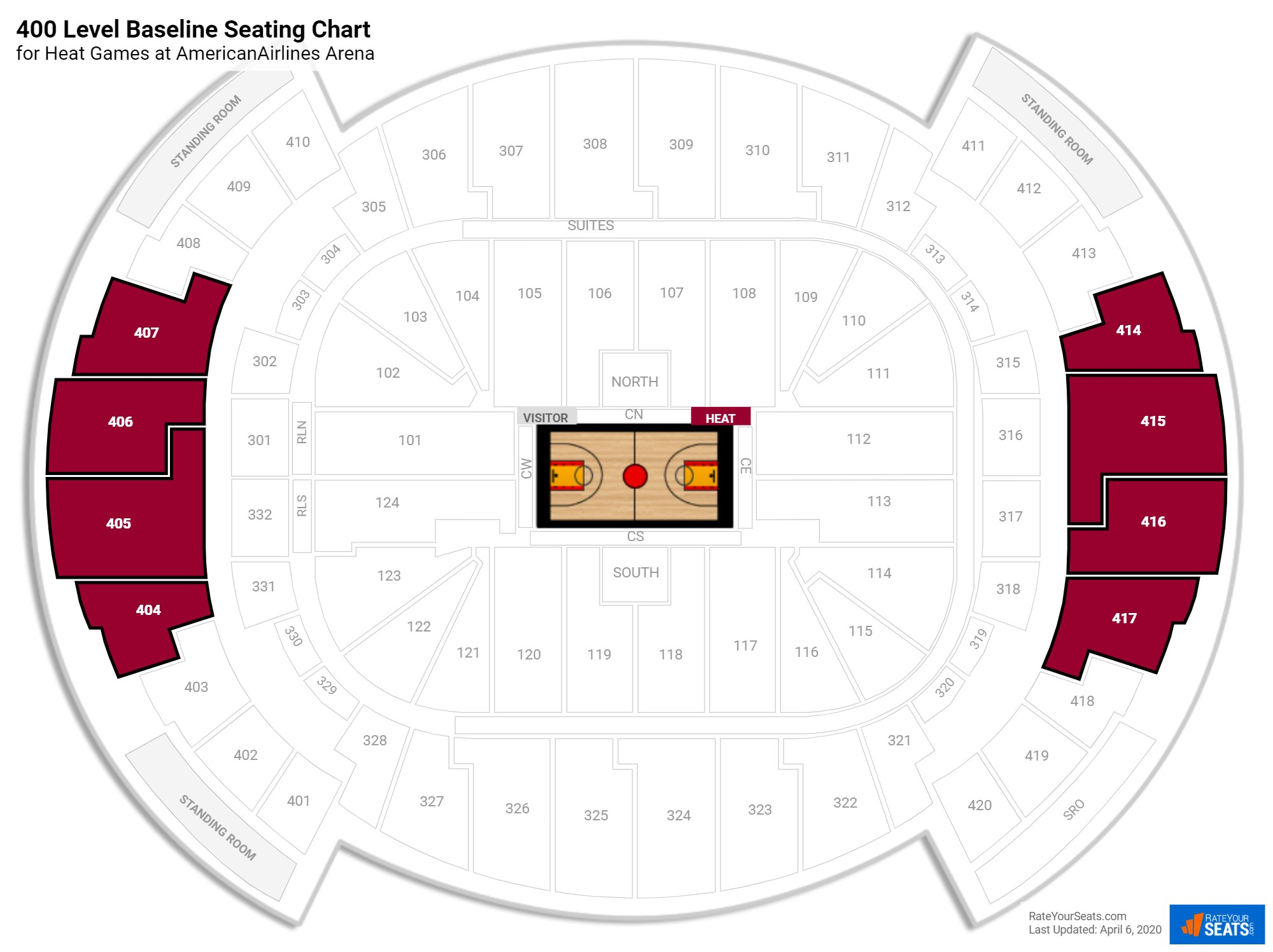 AmericanAirlines Arena 400 Level Baseline seating chart