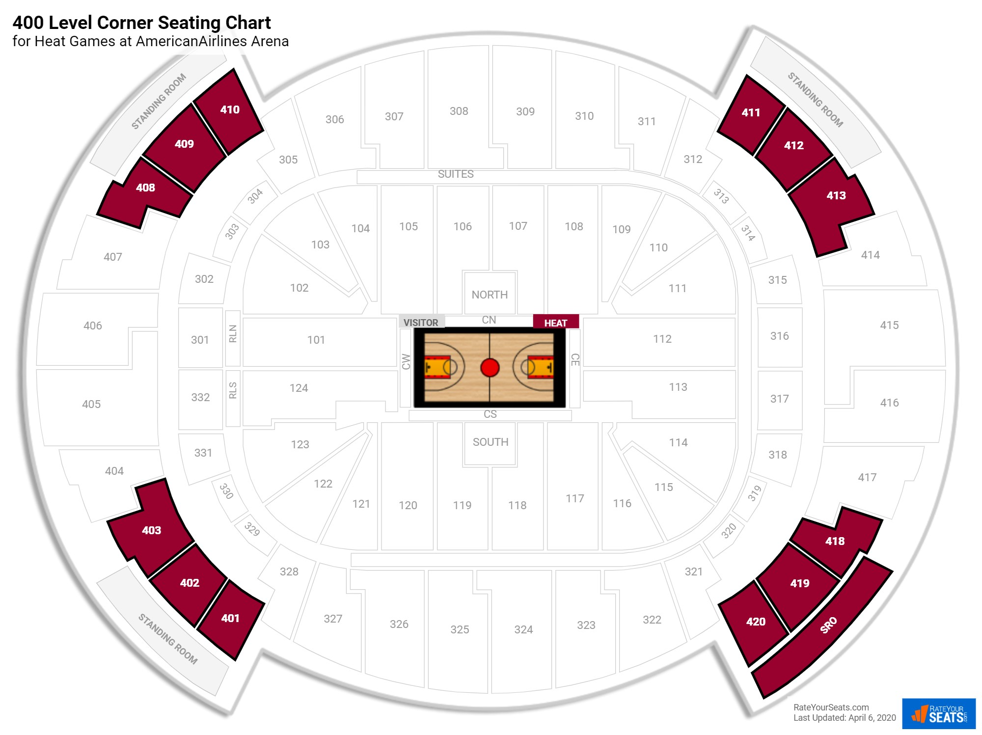 AmericanAirlines Arena 400 Level Corner seating chart