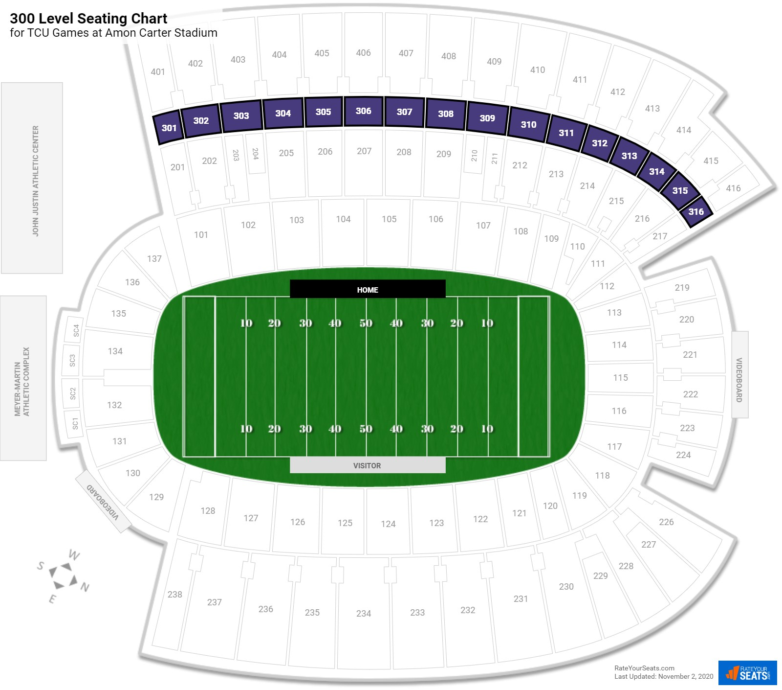 Amon Carter Stadium 300 Level seating chart