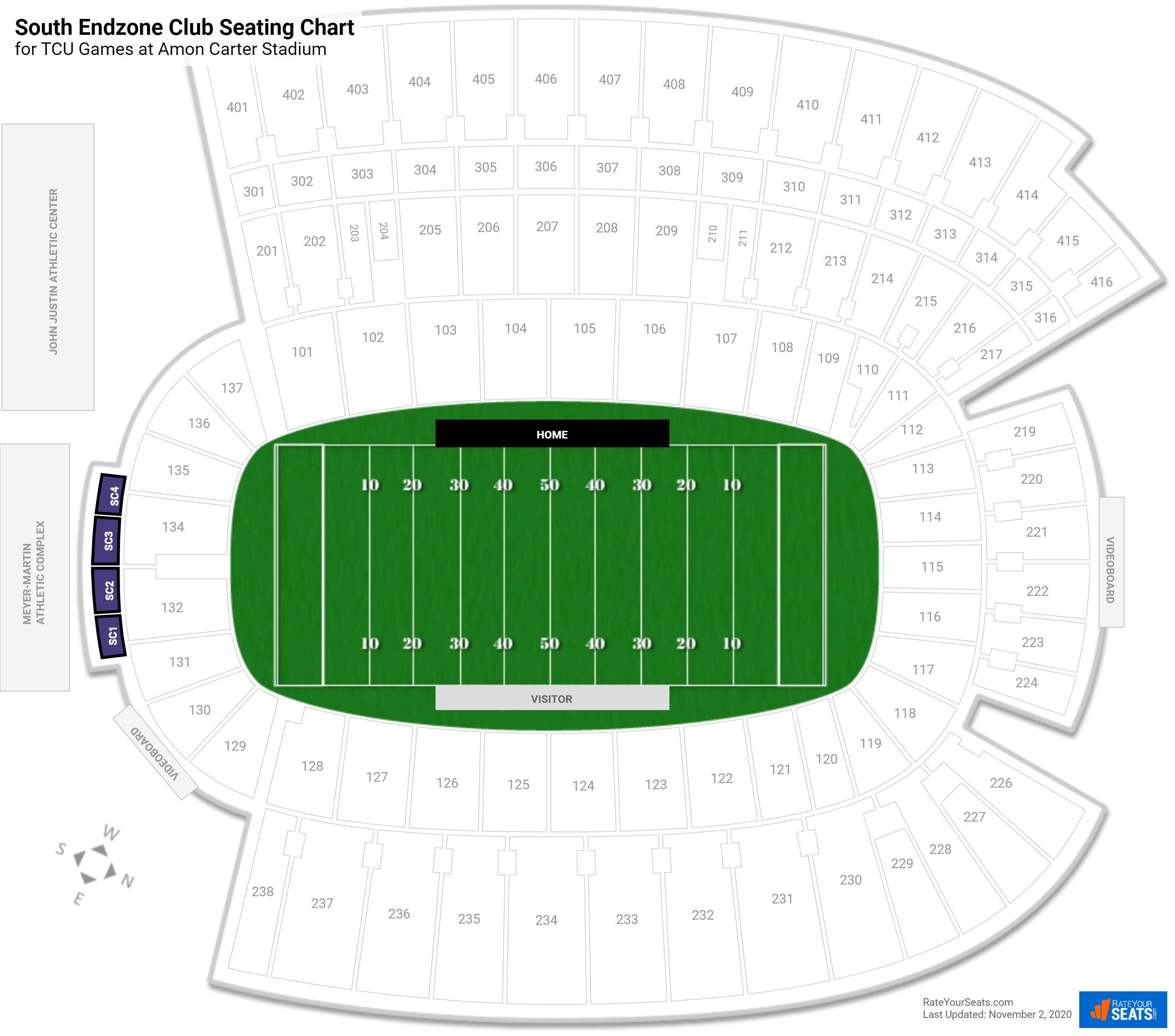 Amon Carter Stadium South Endzone Club seating chart