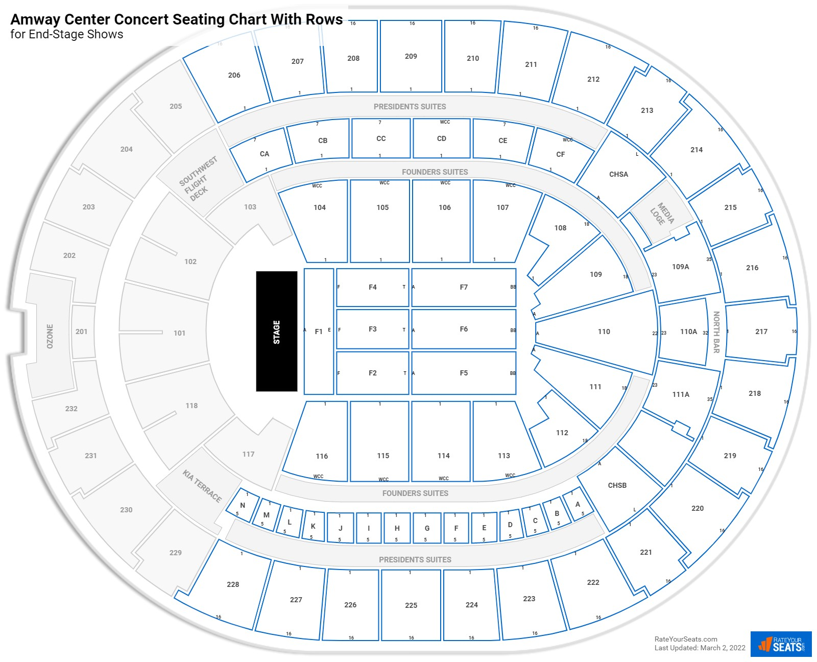 Amway Center seating chart with rows concert