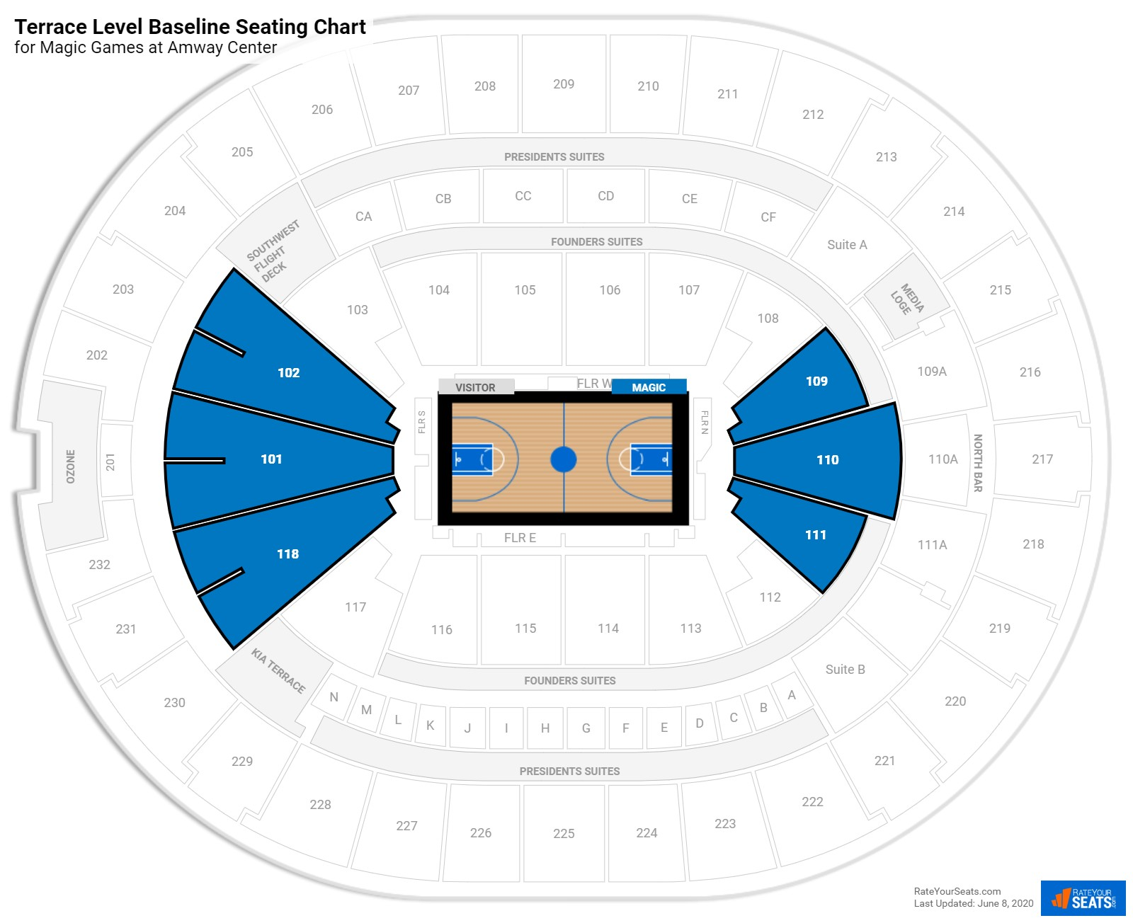 Amway Center Terrace Level Baseline seating chart