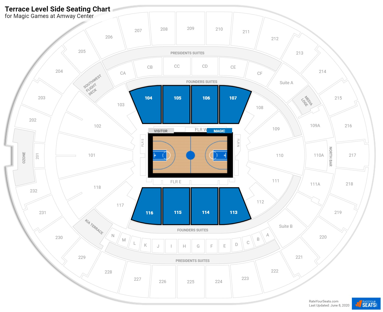 Amway Center Terrace Level Center seating chart