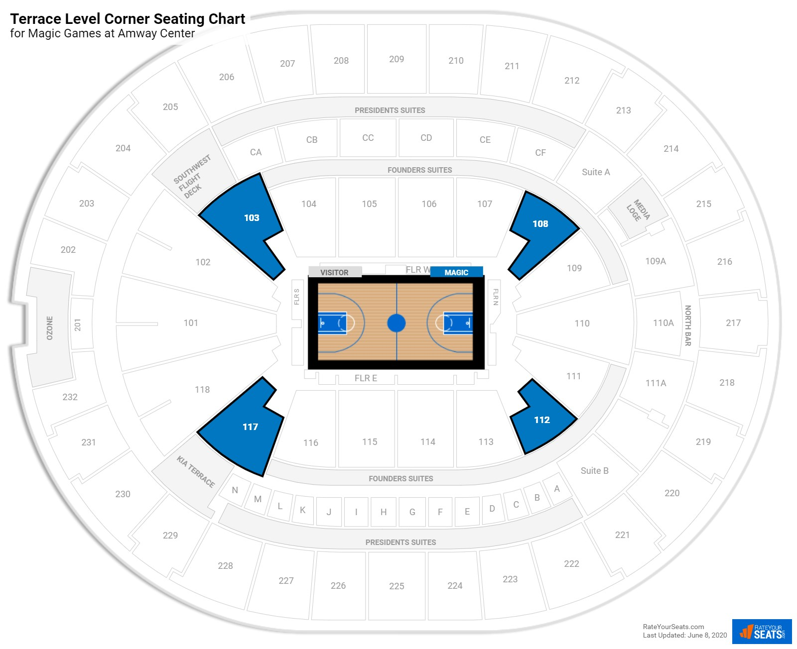 Amway Center Terrace Level Corner seating chart