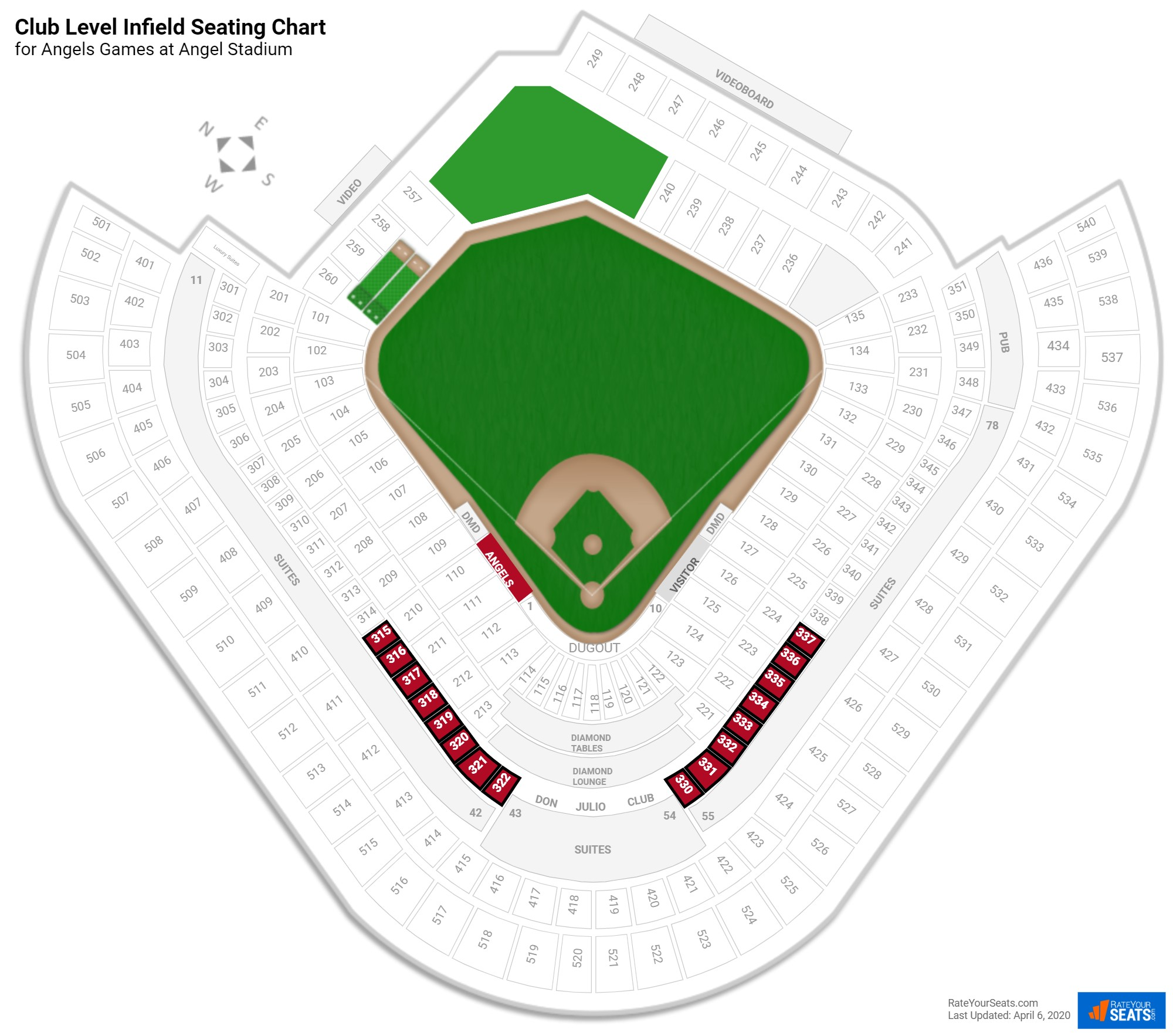 Angel Stadium Club Level Infield seating chart