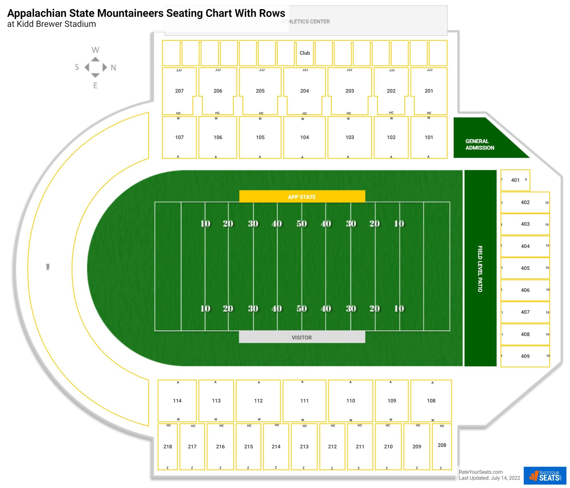 Kidd Brewer Stadium seating chart with rows