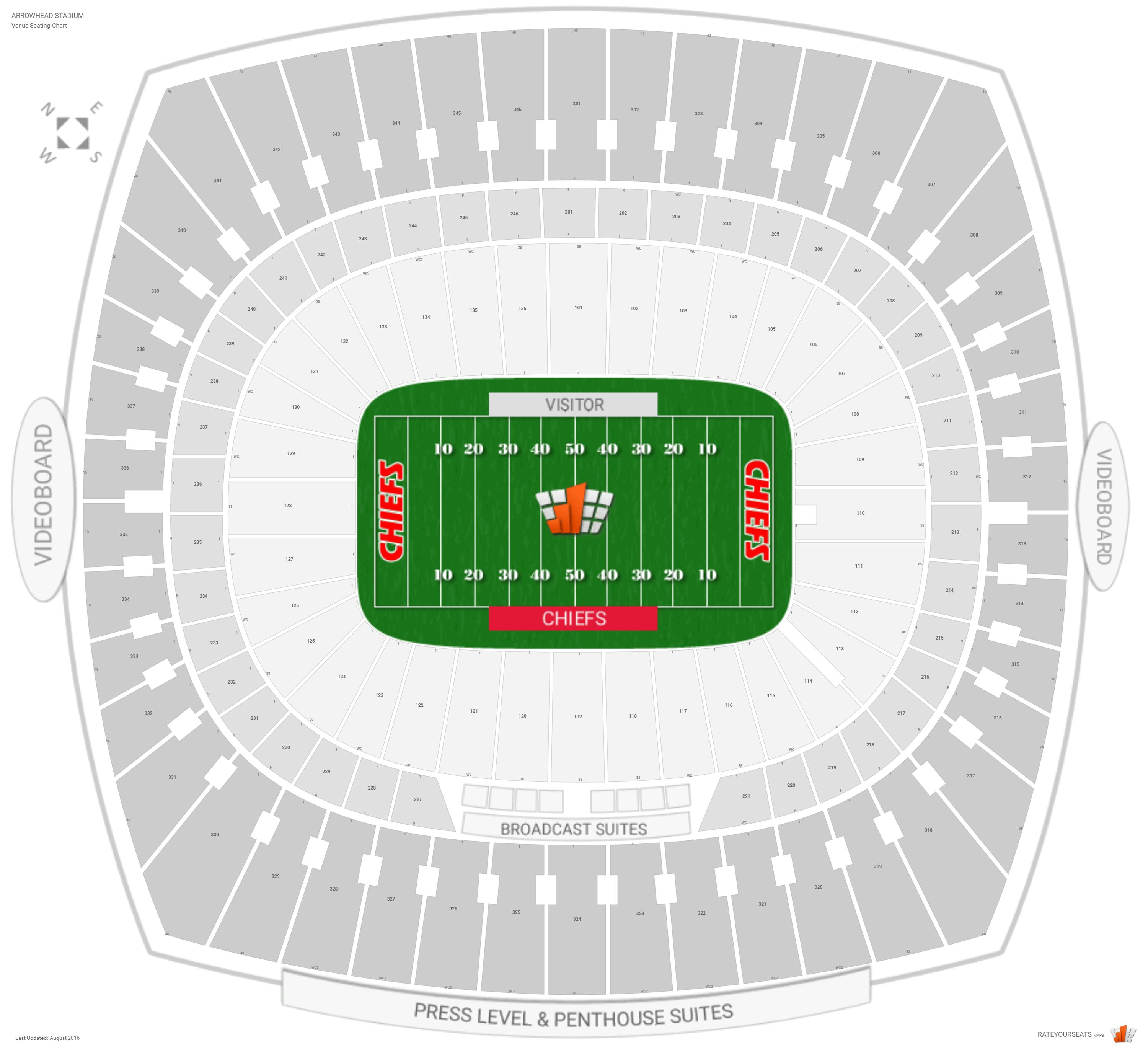 Kansas city chiefs seating guide arrowhead stadium rateyourseats com