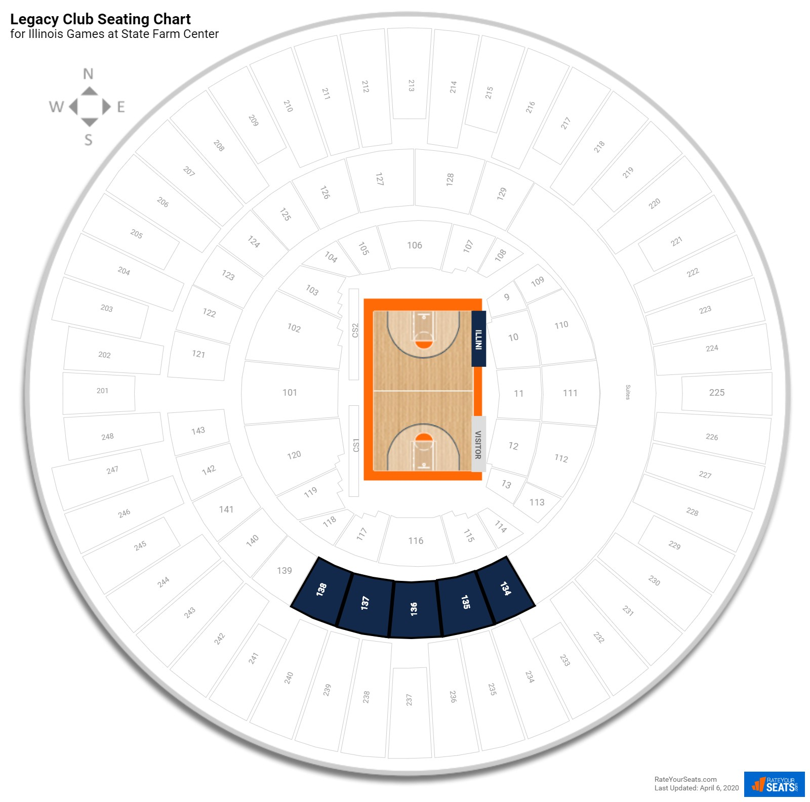 State Farm Center Legacy Club seating chart