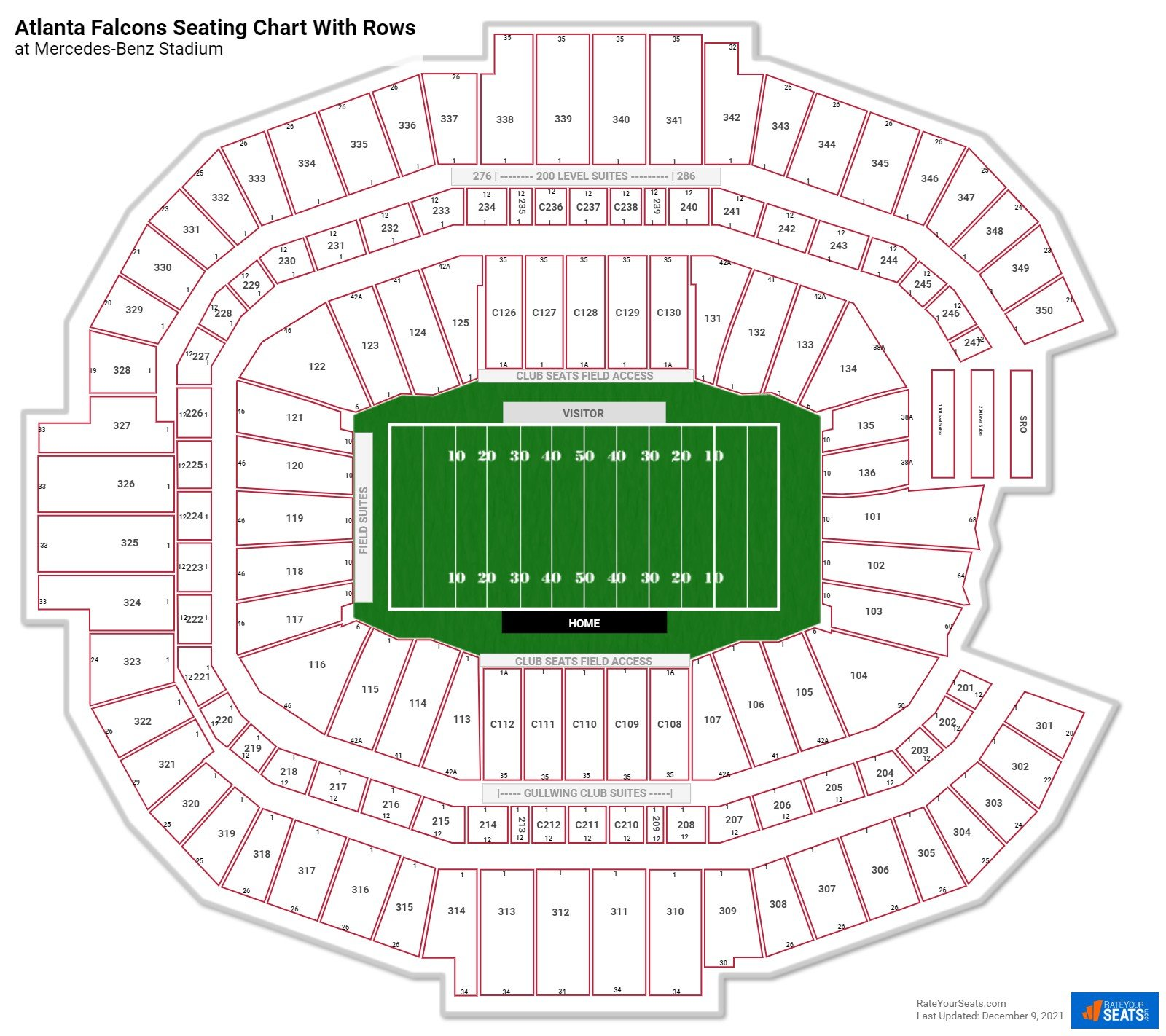Mercedes-Benz Stadium seating chart with rows football