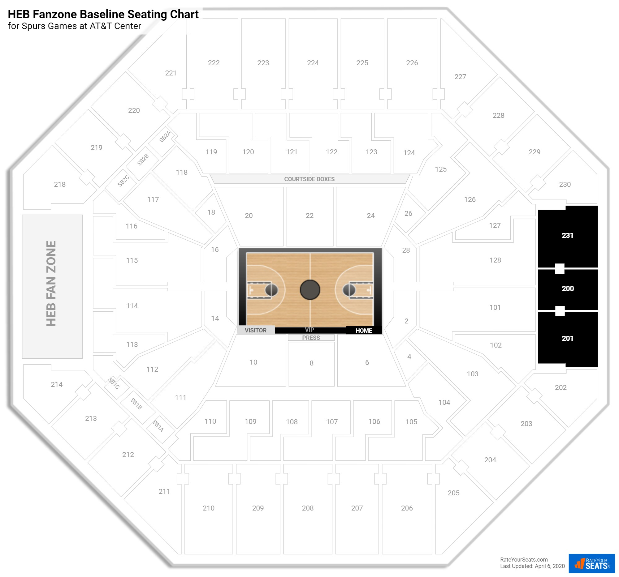 AT&T Center Balcony Baseline seating chart