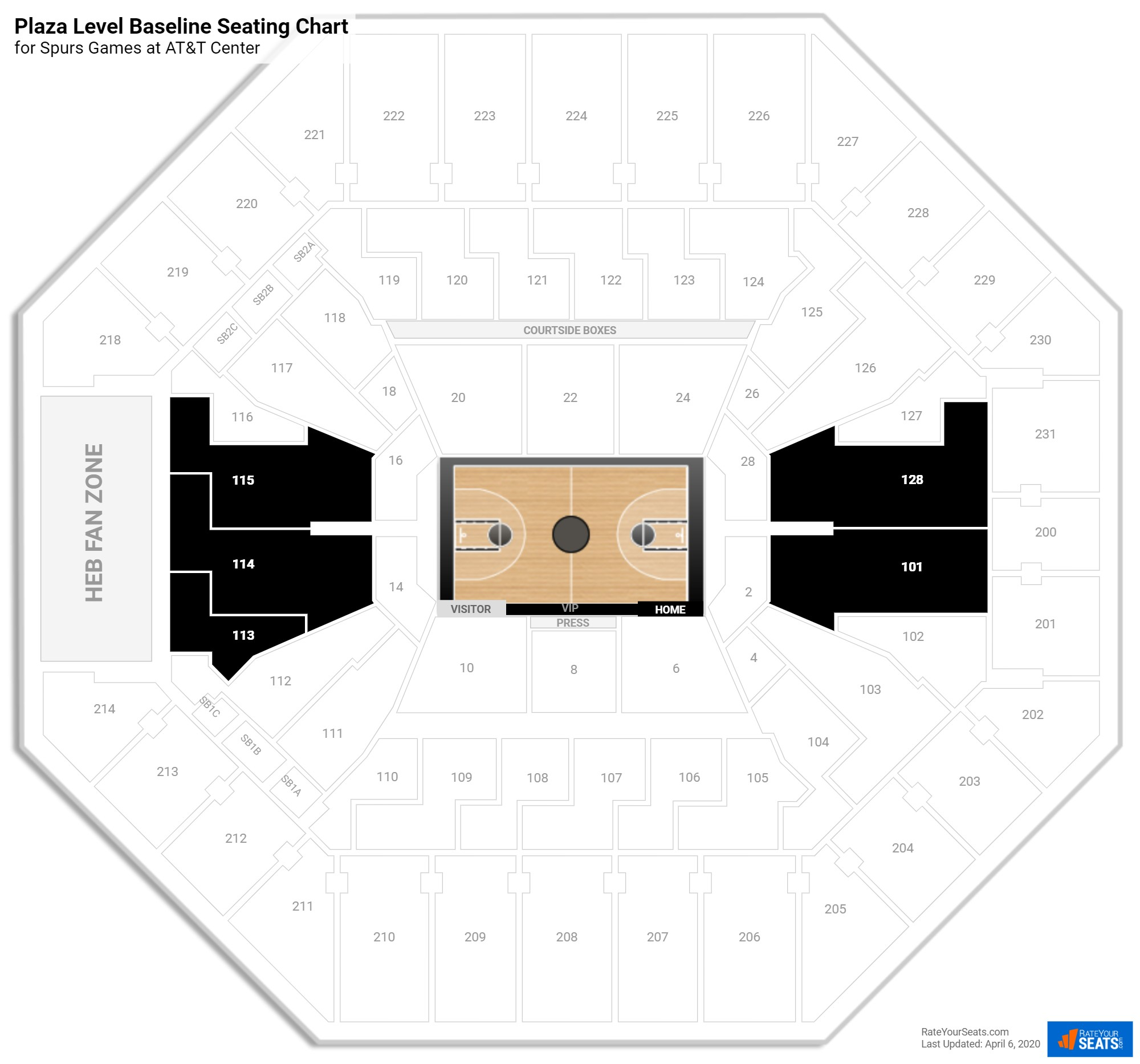 AT&T Center Plaza Baseline seating chart