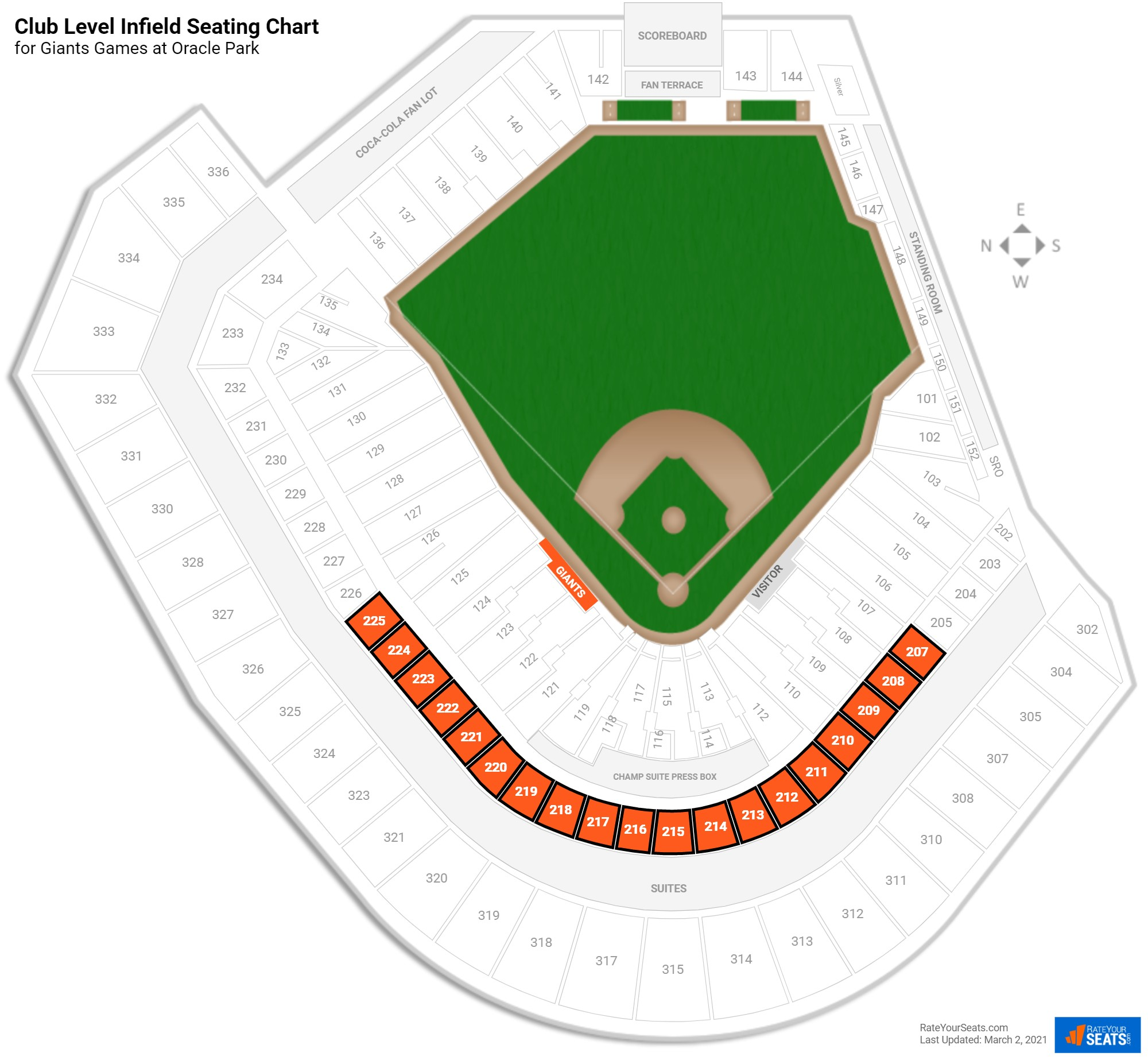 AT&T Park Club Level Infield seating chart