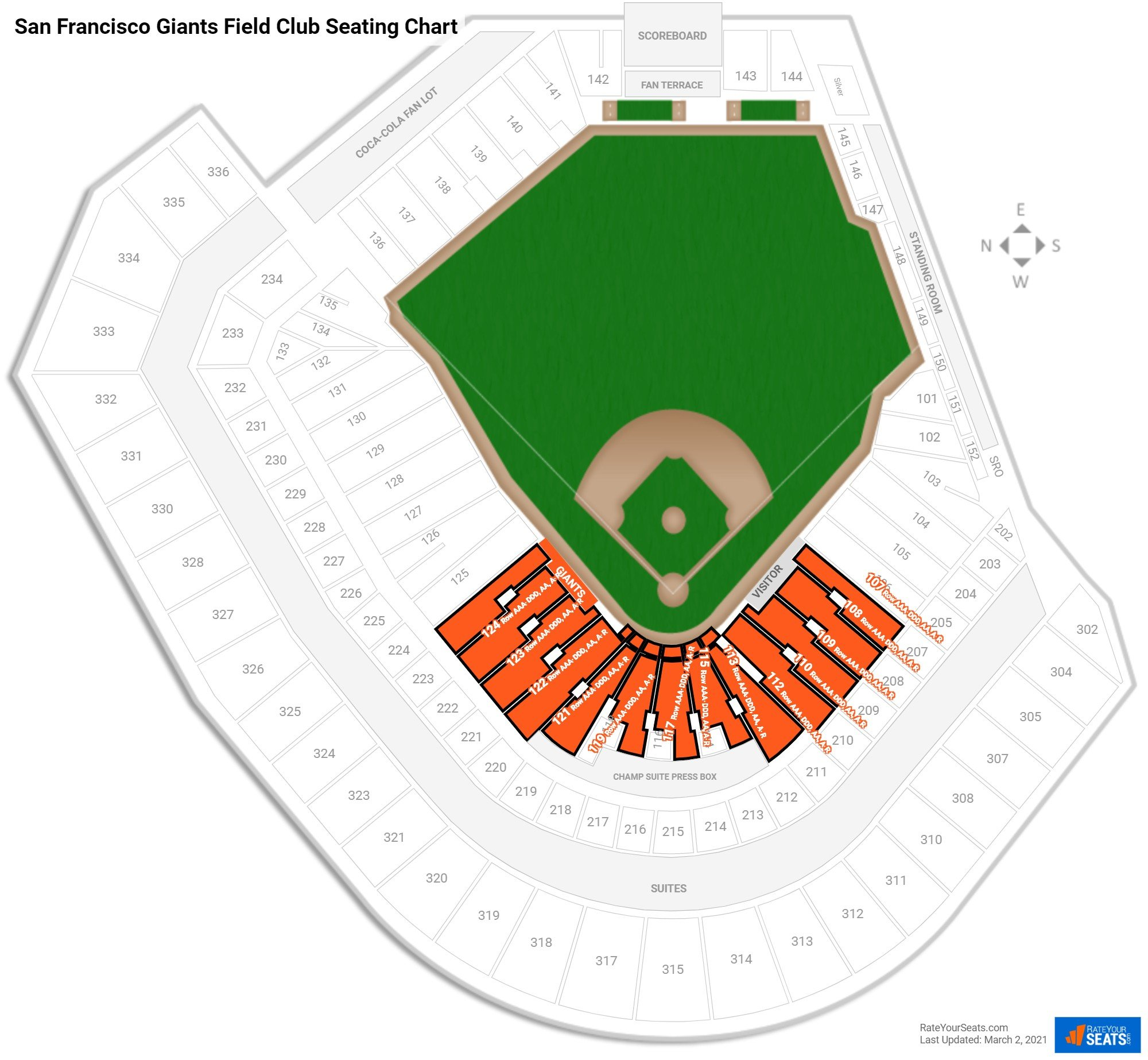 Club and premium seating at at t park for Dining near at t park