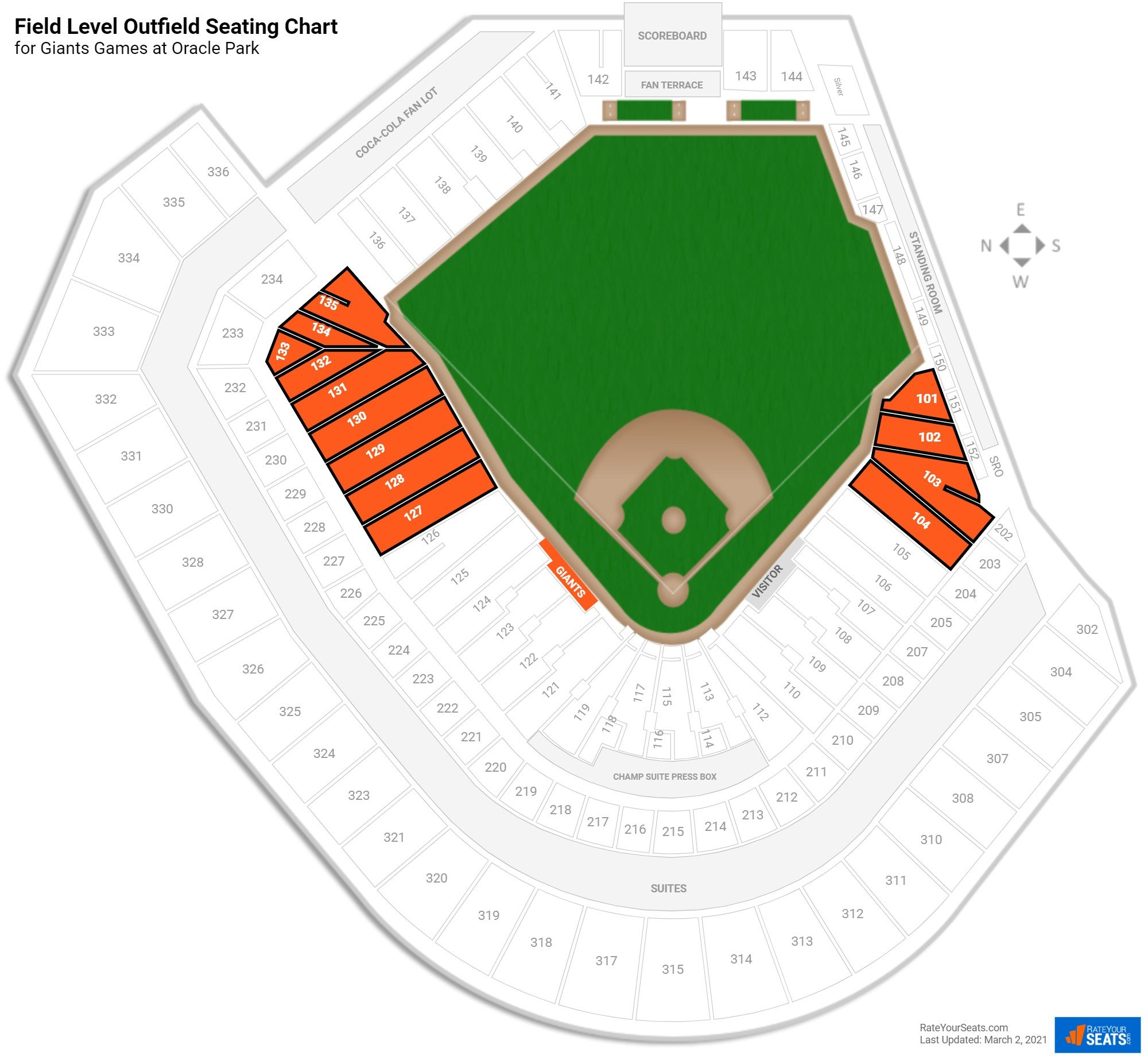 AT&T Park Field Level Outfield seating chart