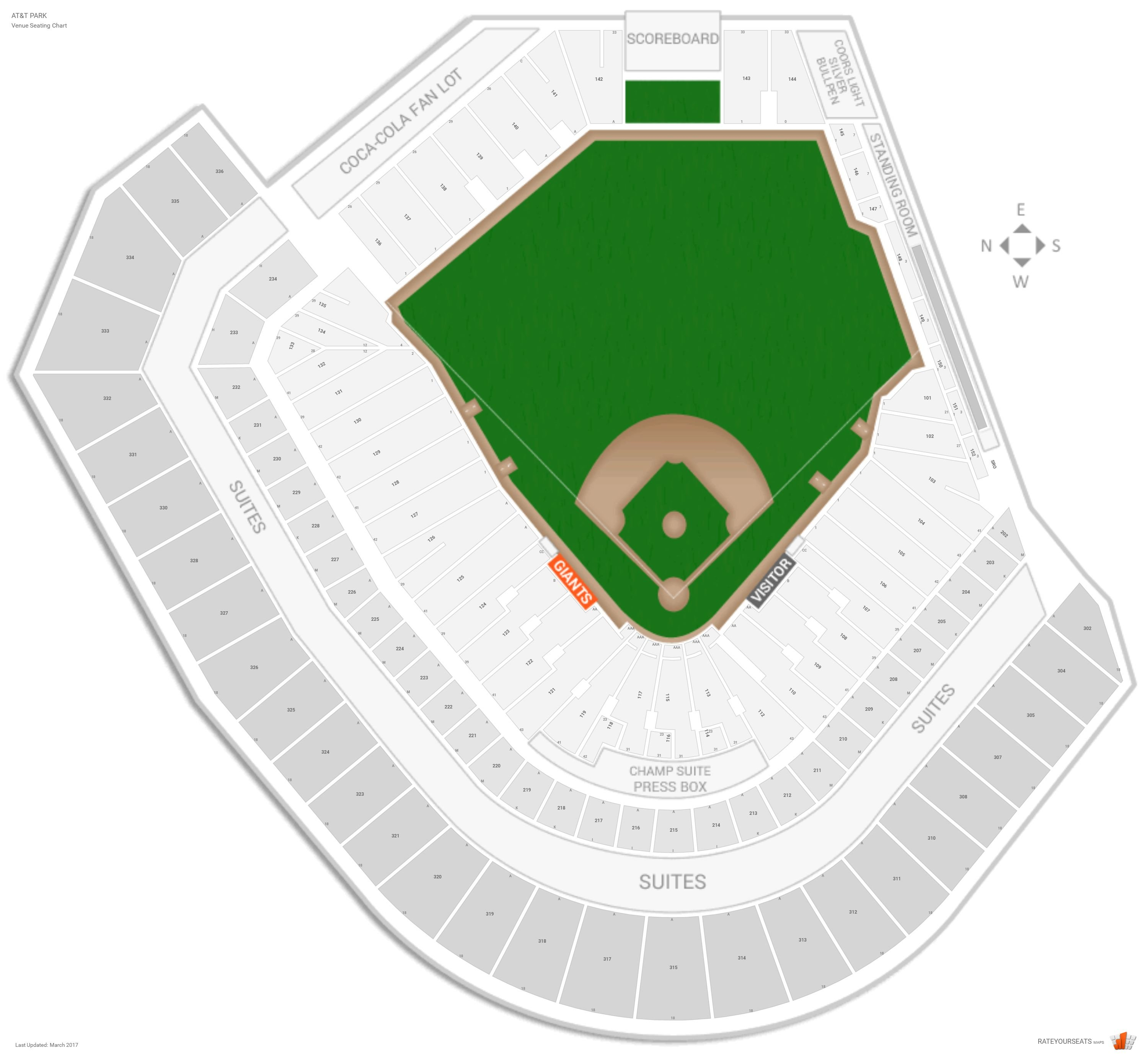 Oracle Park Seating Chart With Row Numbers