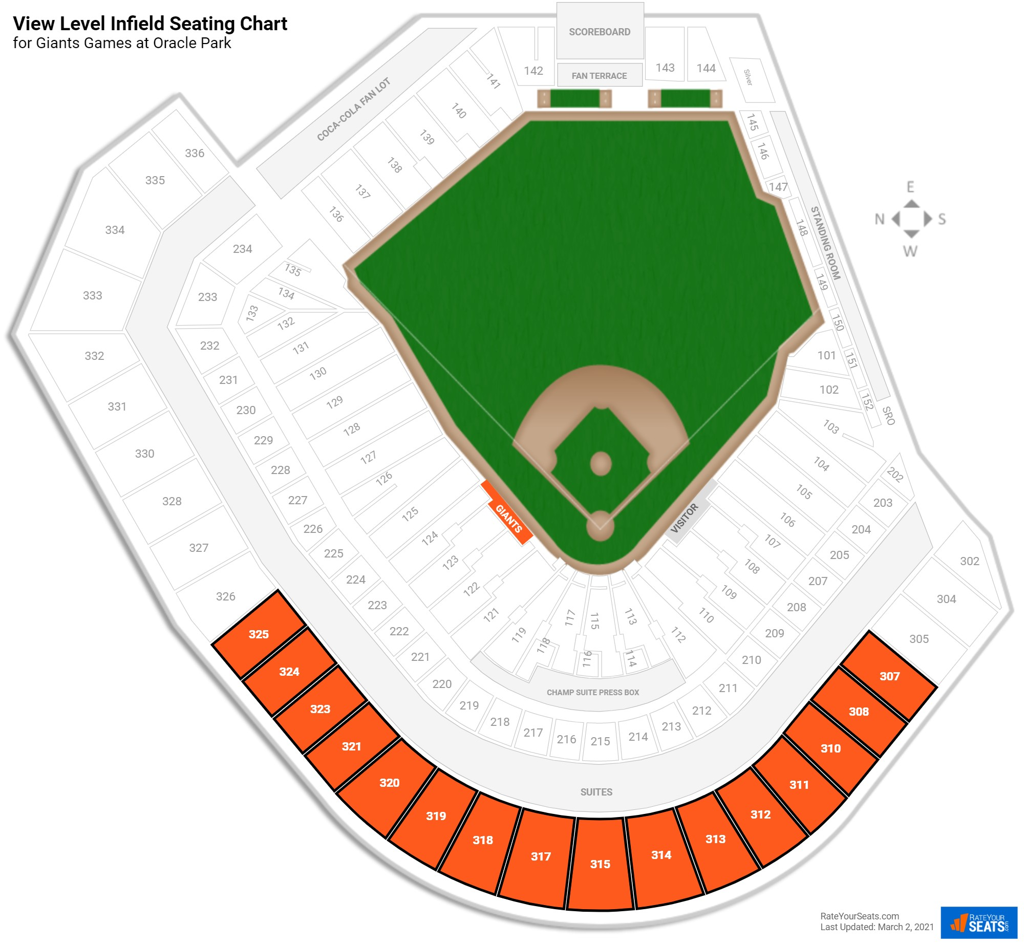 AT&T Park View Level Infield seating chart