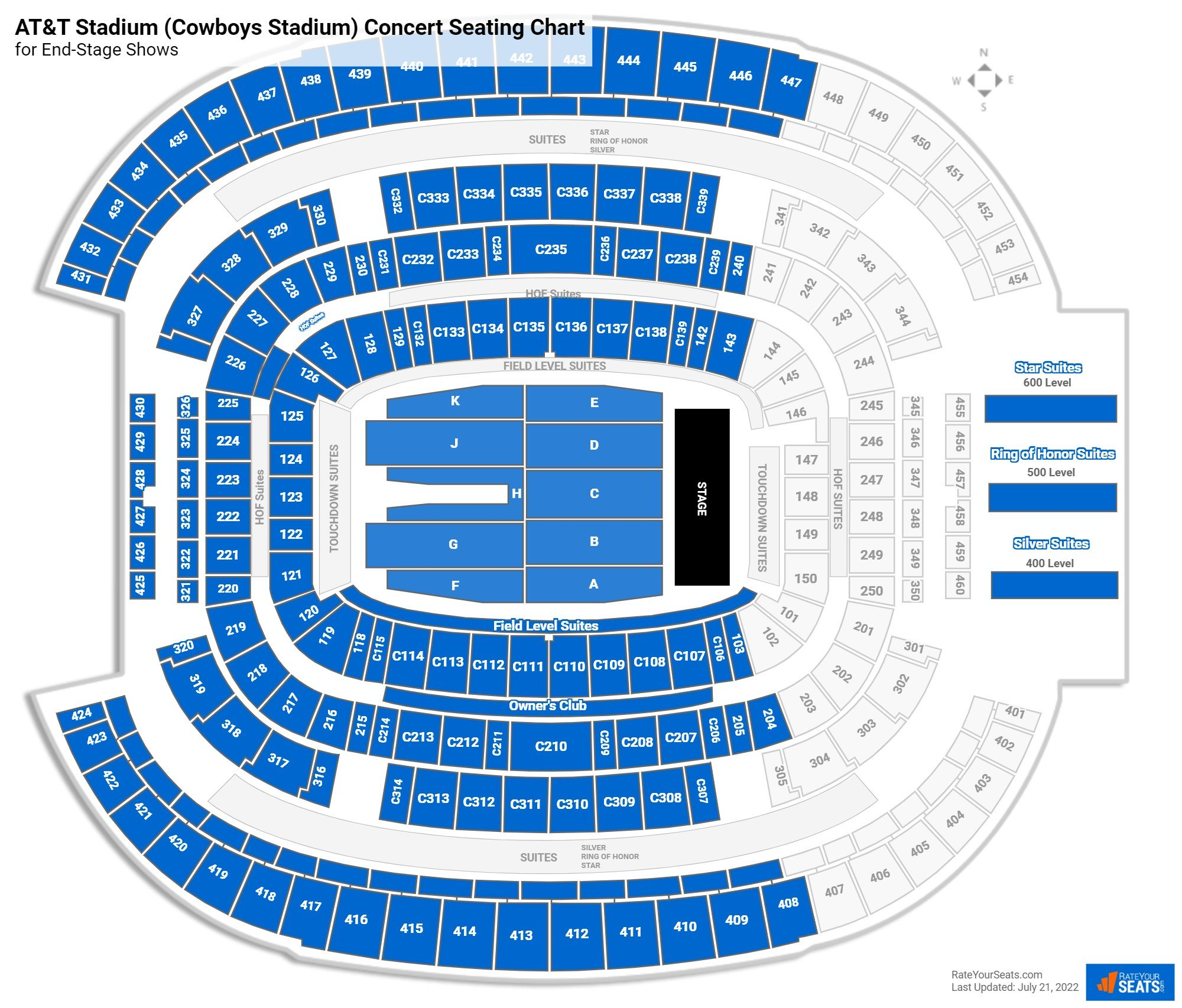 AT&T Stadium (Cowboys Stadium) Seating Chart for Concerts