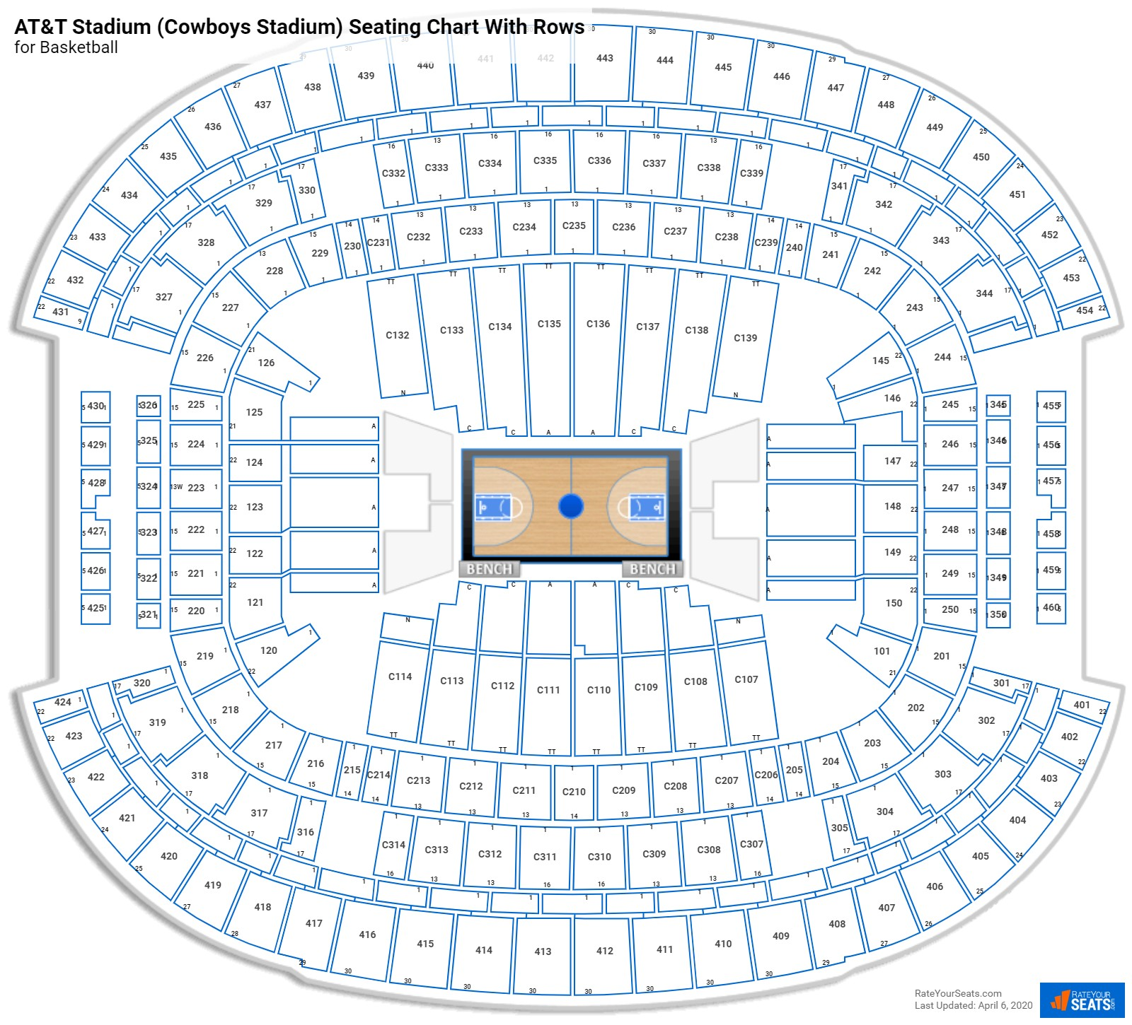 AT&T Stadium (Cowboys Stadium) seating chart with rows basketball