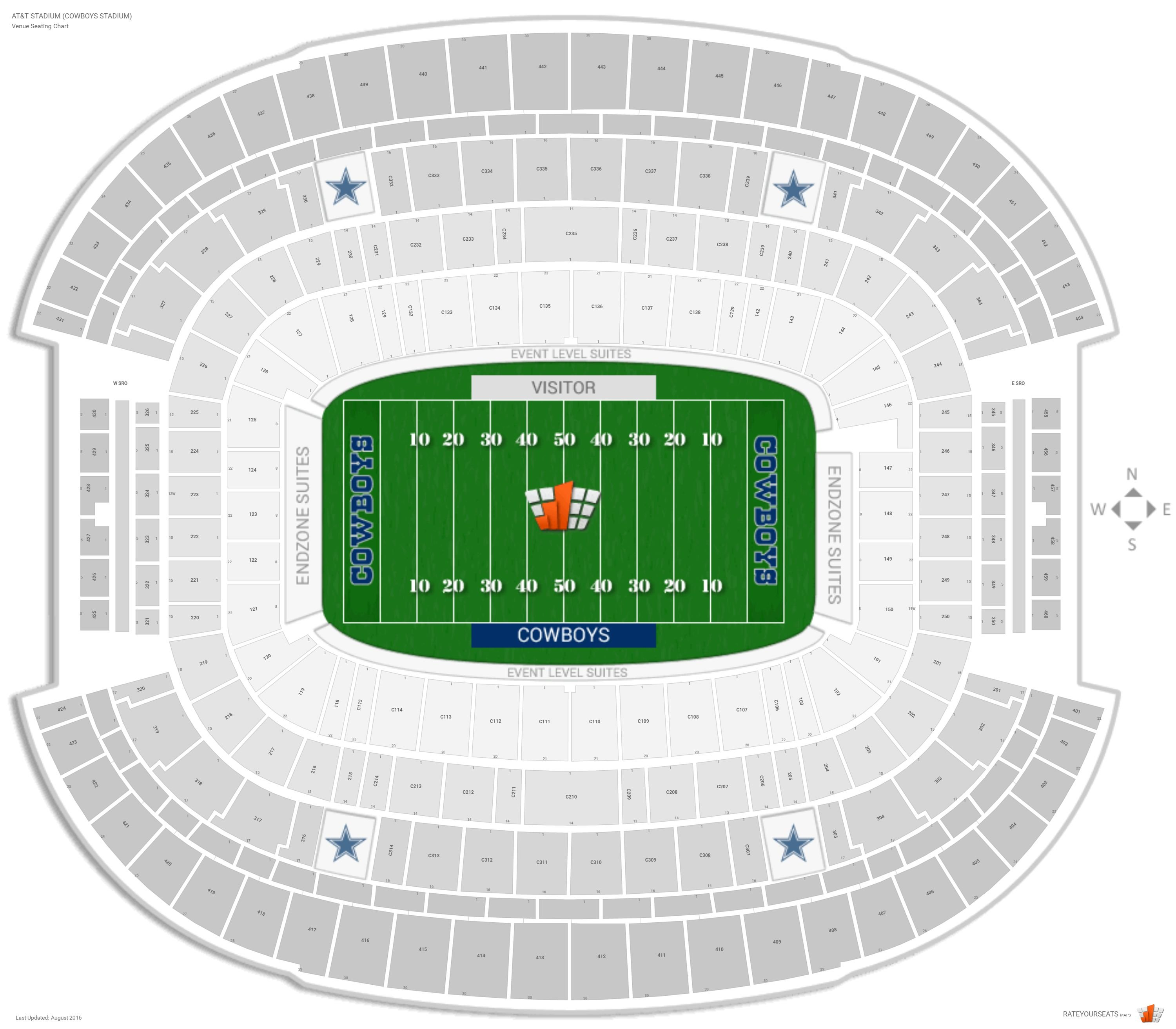 AT&T Stadium Cowboys Stadium Seating Chart with Row Numbers