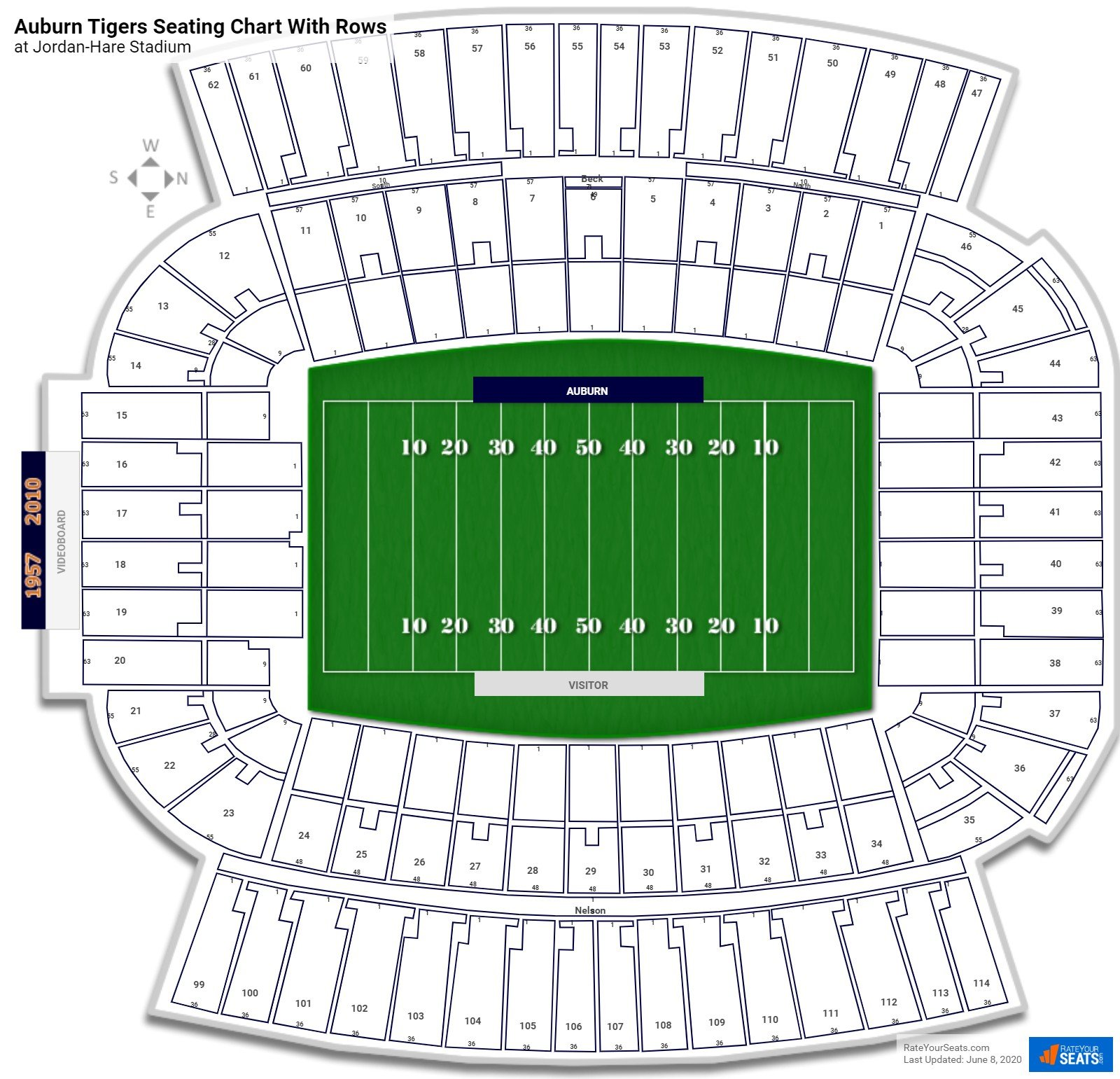 Jordan-Hare Stadium seating chart with rows