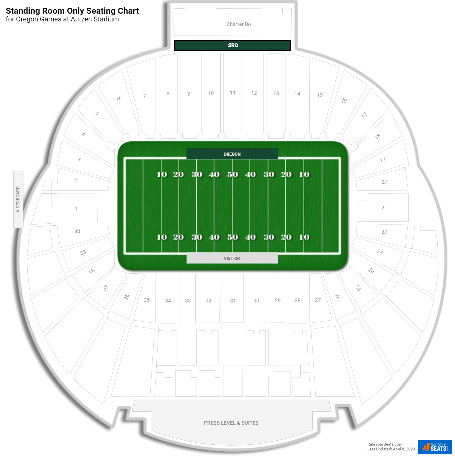 Autzen Stadium Standing Room Only seating chart