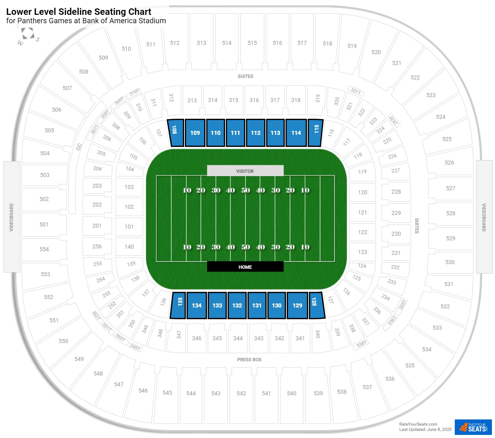 Bank of America Stadium Lower Level Sideline seating chart