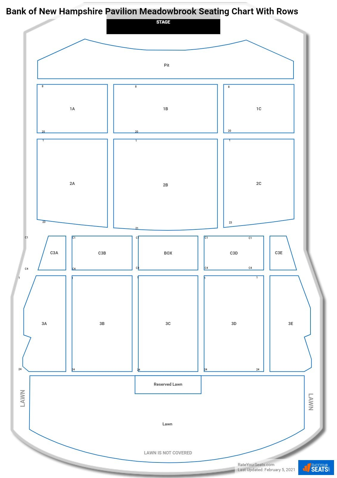Bank of New Hampshire Pavilion Meadowbrook seating chart with rows