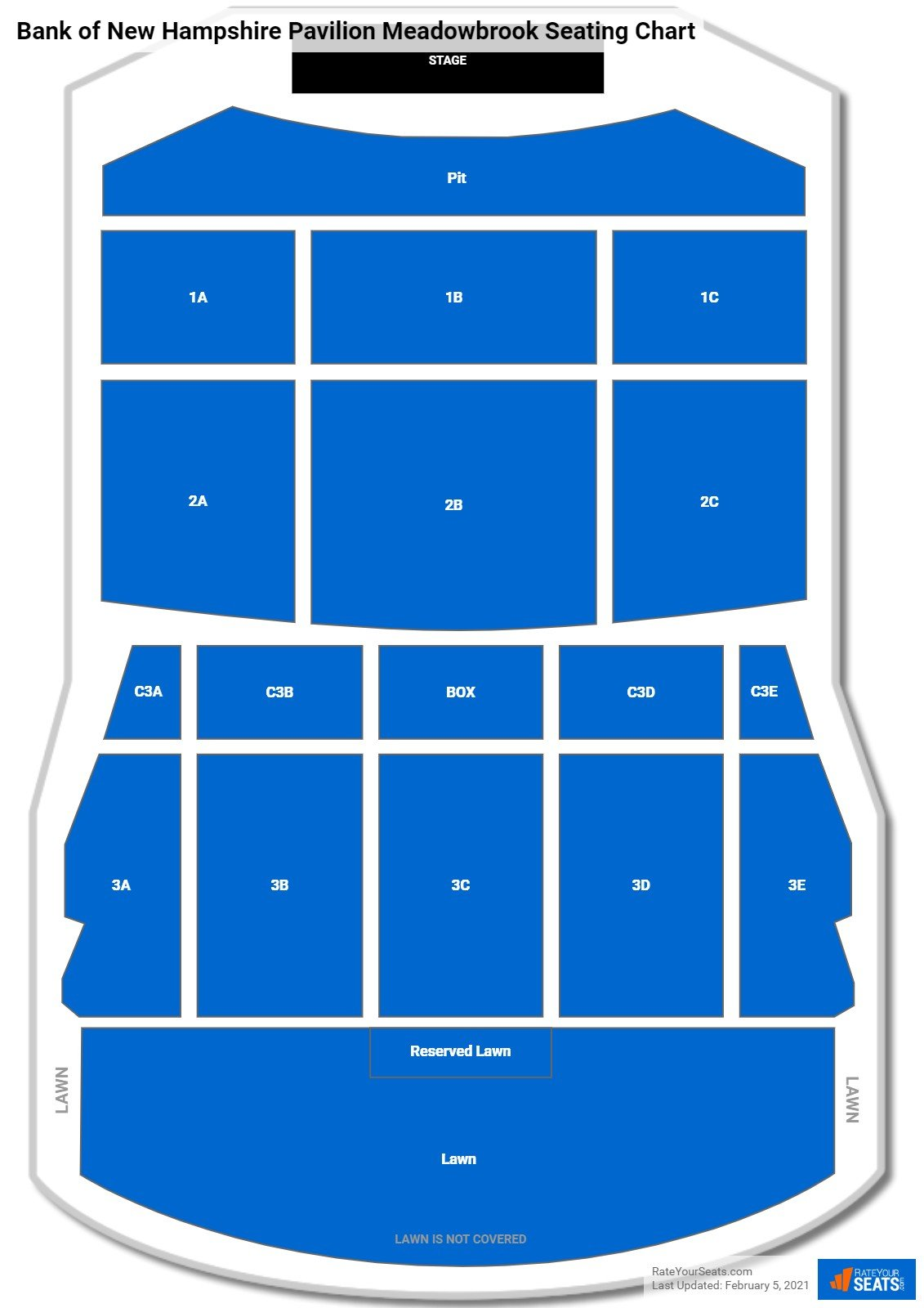 Bank of New Hampshire Pavilion Meadowbrook Seating Chart