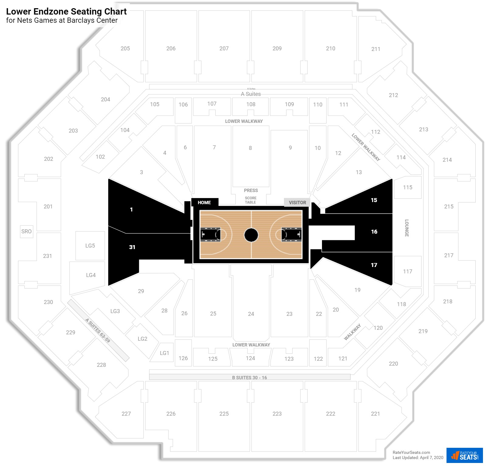Barclays Center Lower Level Baseline seating chart