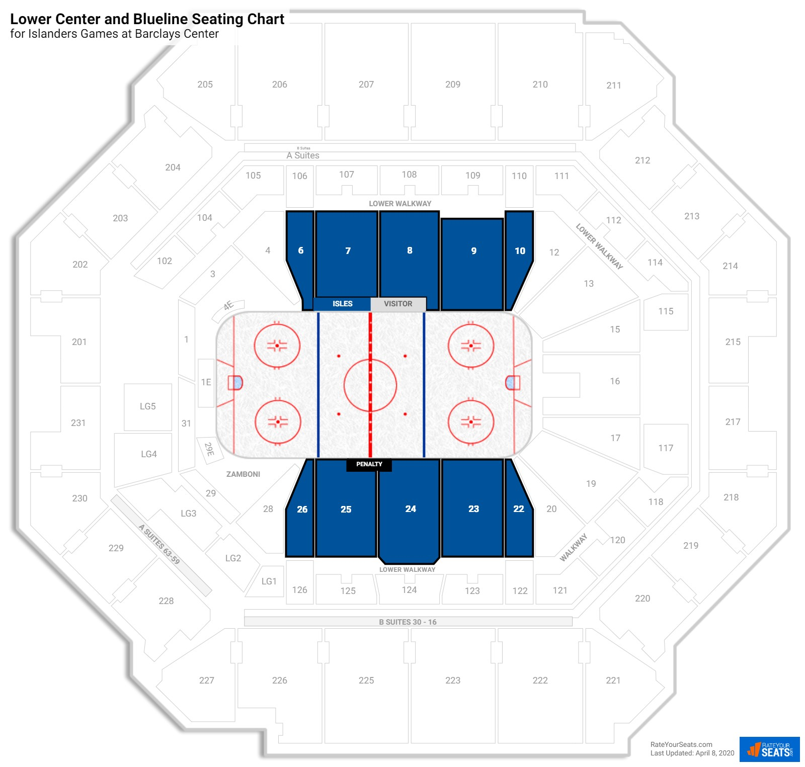 Barclays Center Lower Level Side seating chart