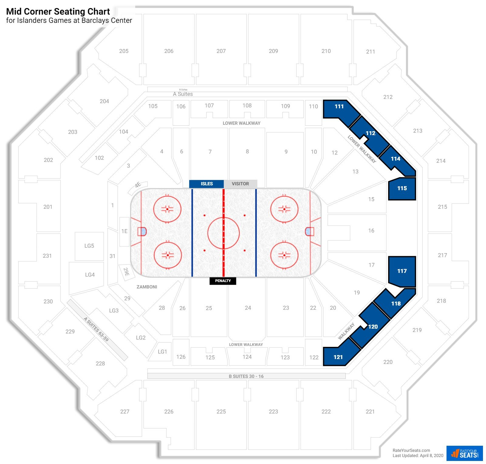 Barclays Center Mid Level East Side seating chart