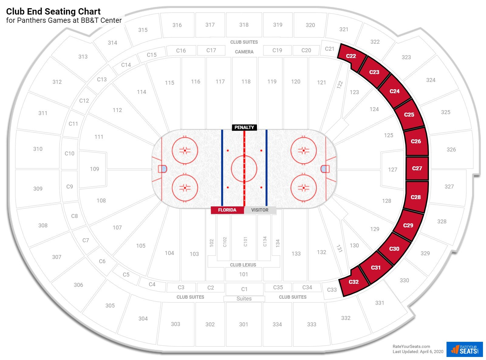 BB&T Center Club Endzone seating chart
