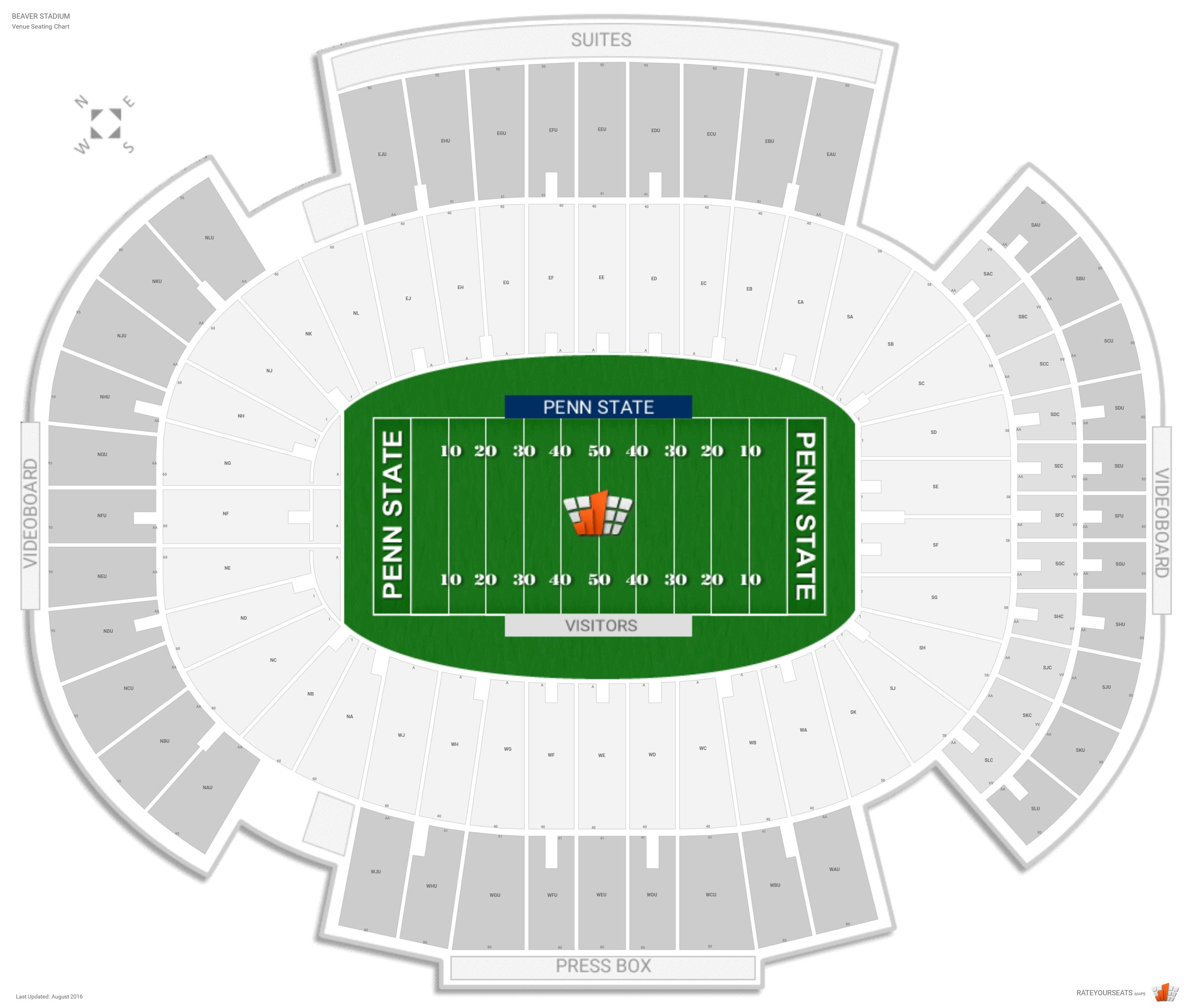Beaver Stadium Seating Chart With Row Numbers