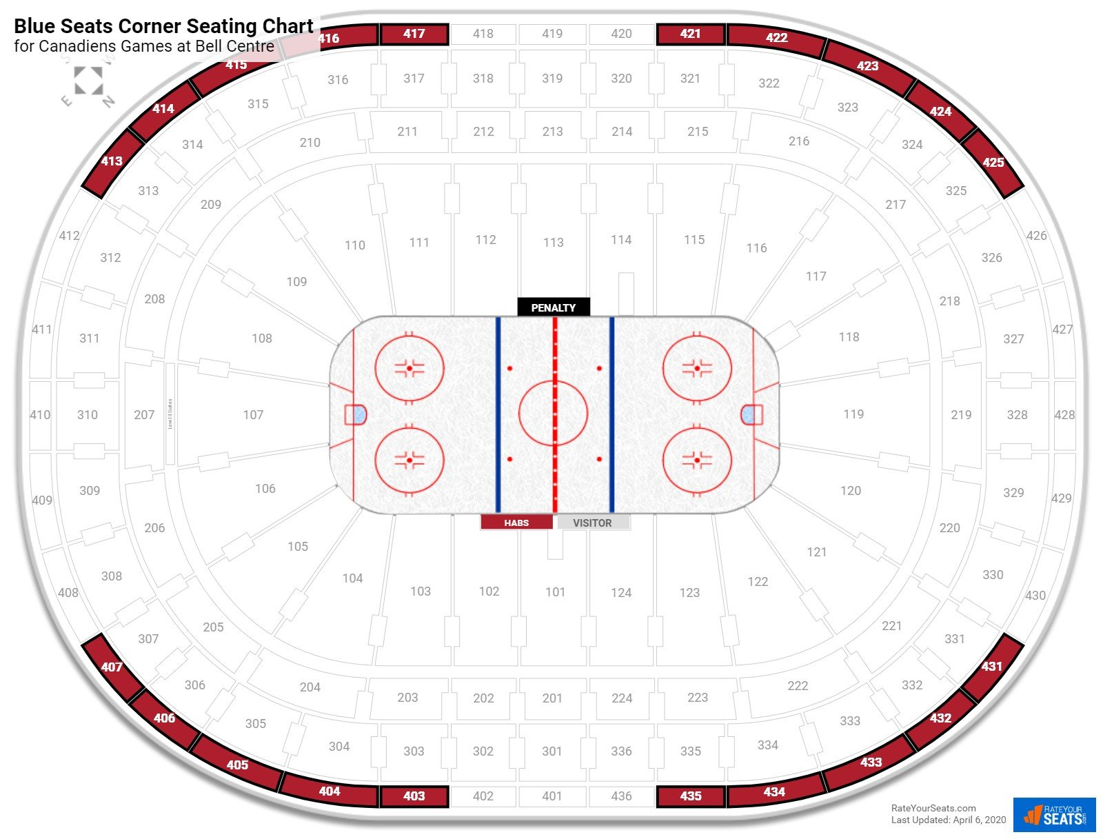 Bell Centre 400 Level Corner seating chart