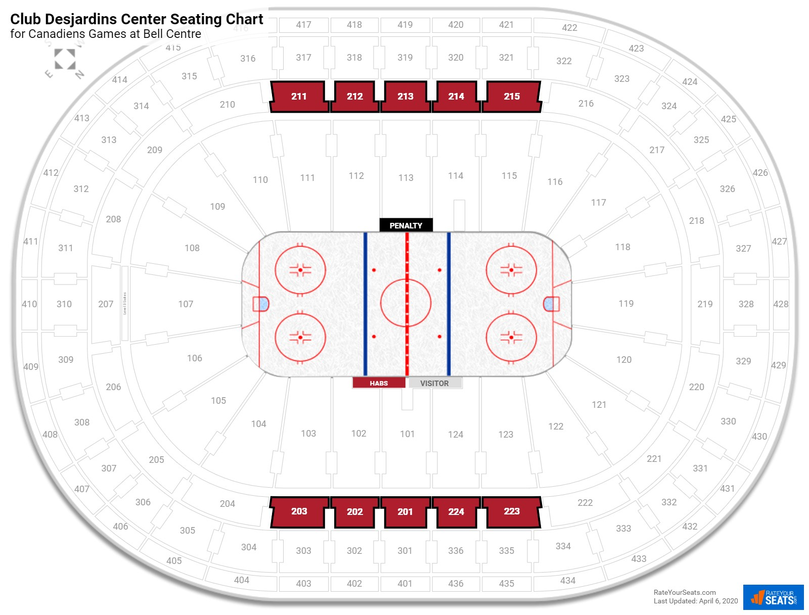 Bell Centre Club Level Center seating chart