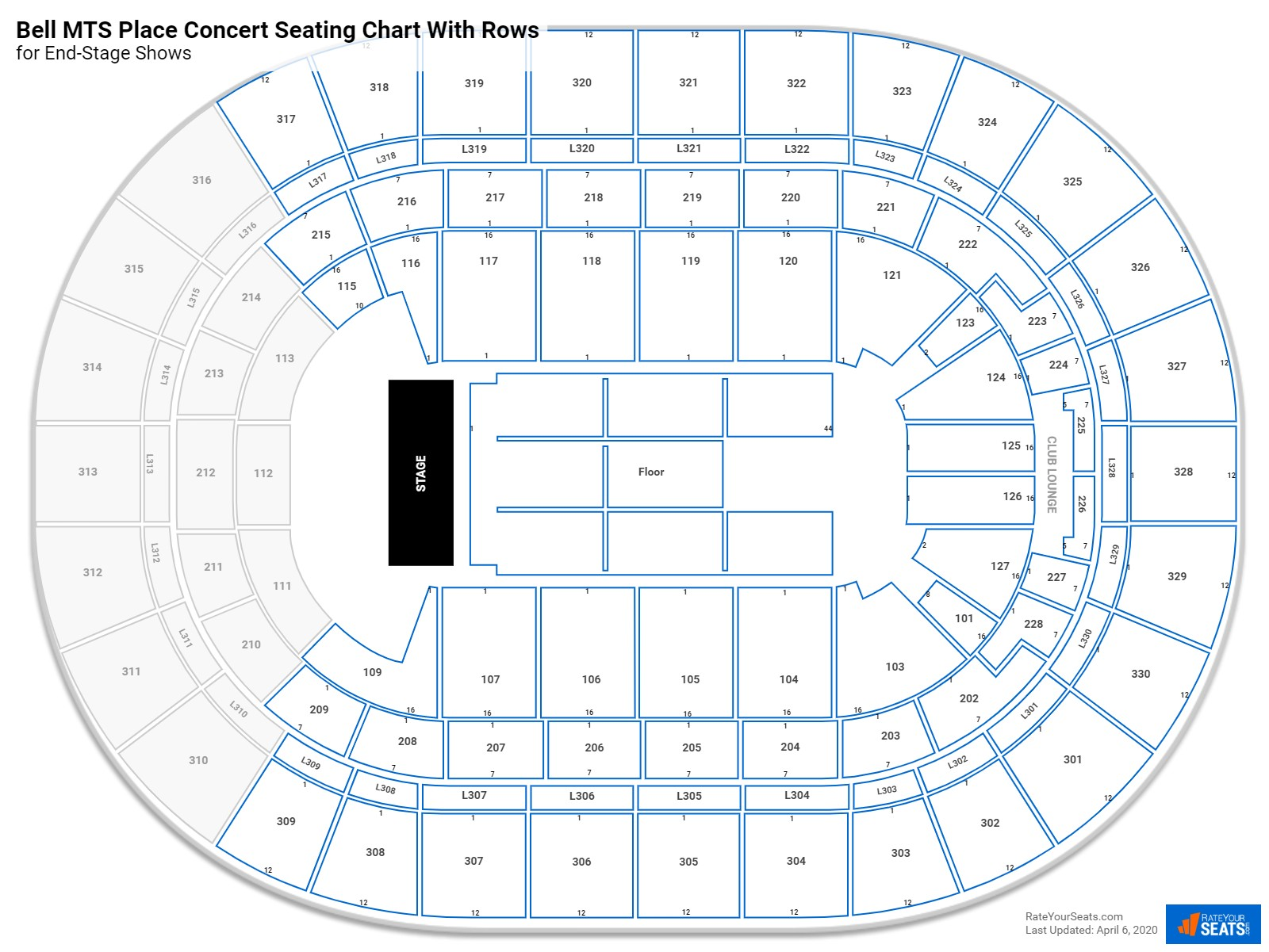 Bell MTS Place seating chart with rows concert